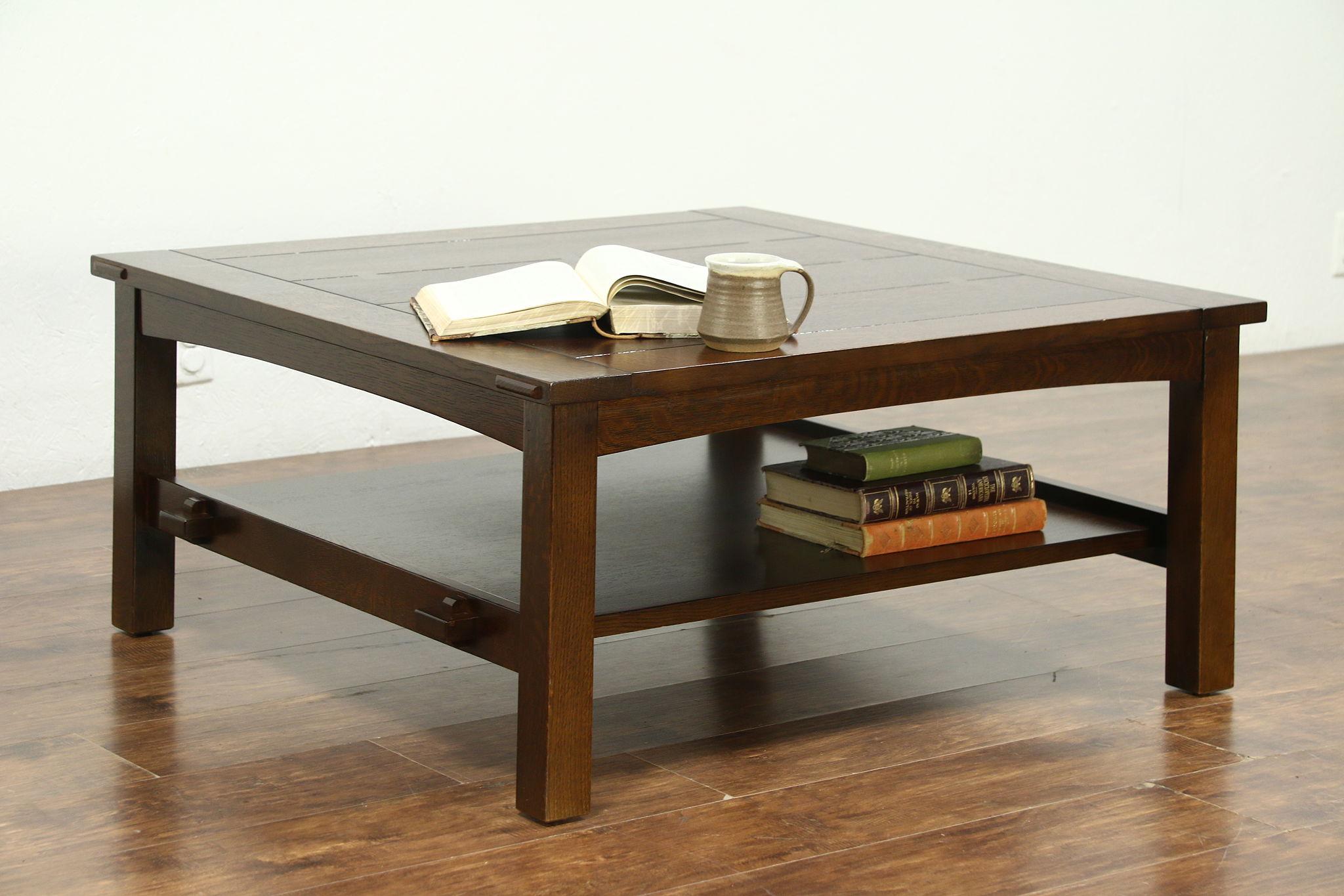 - SOLD - Craftsman Mission Oak Arts & Crafts Vintage Coffee Table
