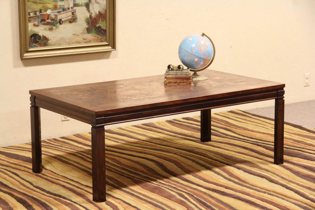 SOLD Midcentury Danish Modern Coffee Table Copper Map of the