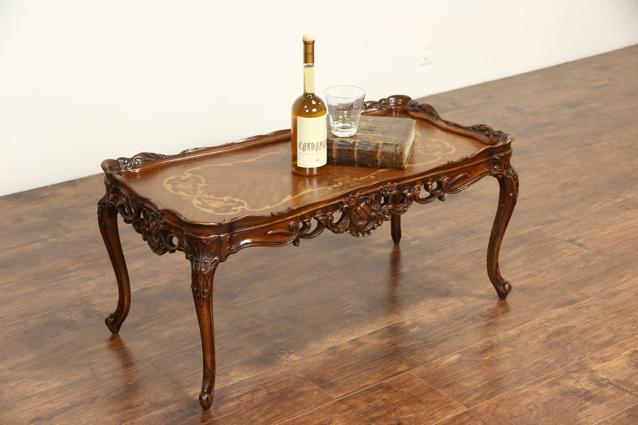 French Style Carved 1940 S Vintage Coffee Table Marquetry Top