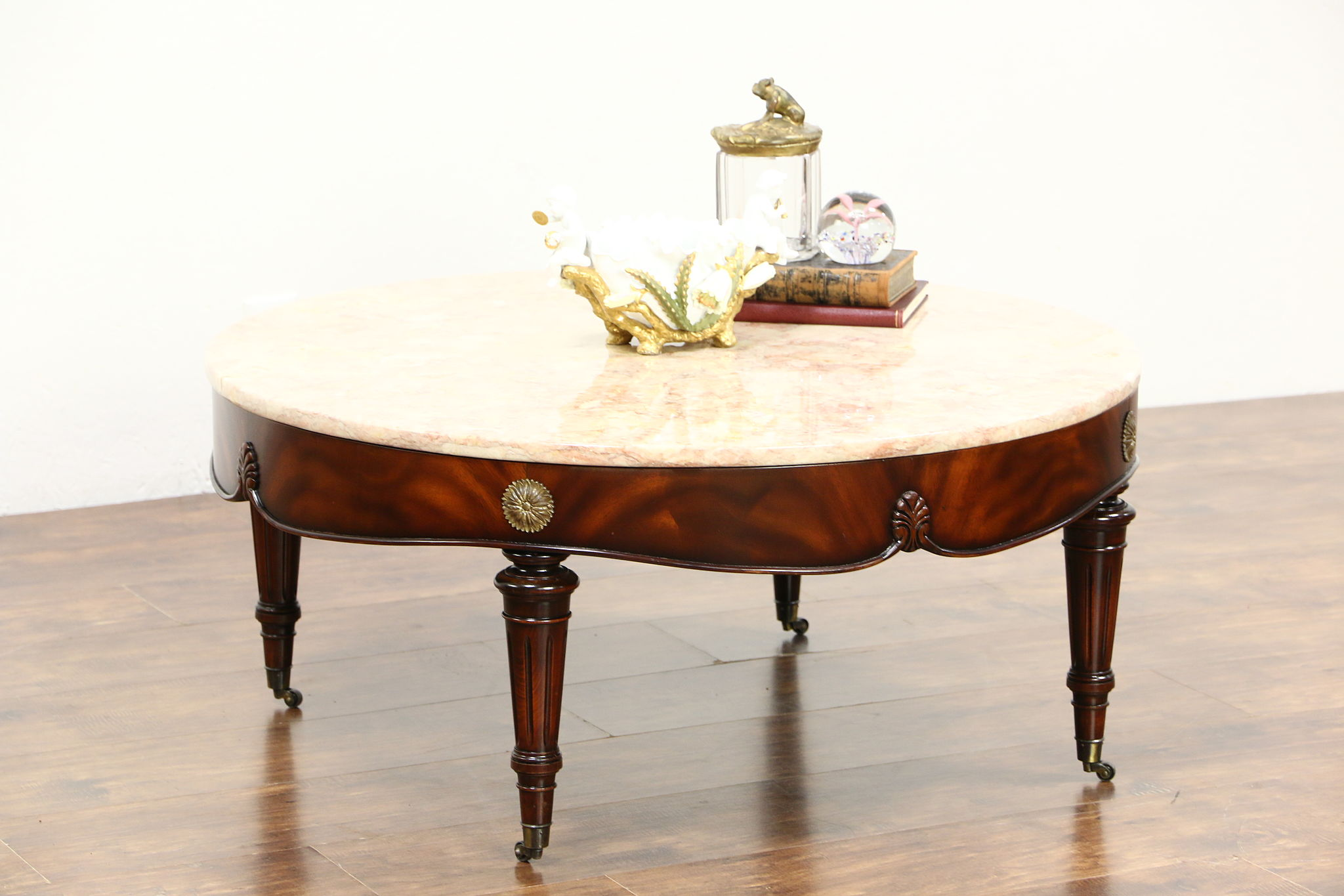 Classical Round Mahogany Vintage Coffee Table, Rose Marble Top