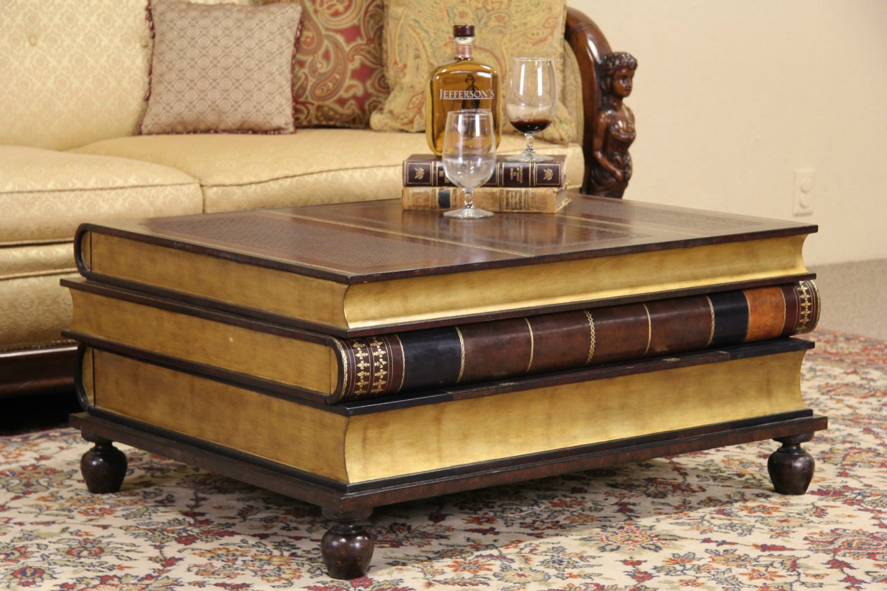 Maitland Smith Leather U0026 Gold Leaf Book Coffee Or Cocktail Table