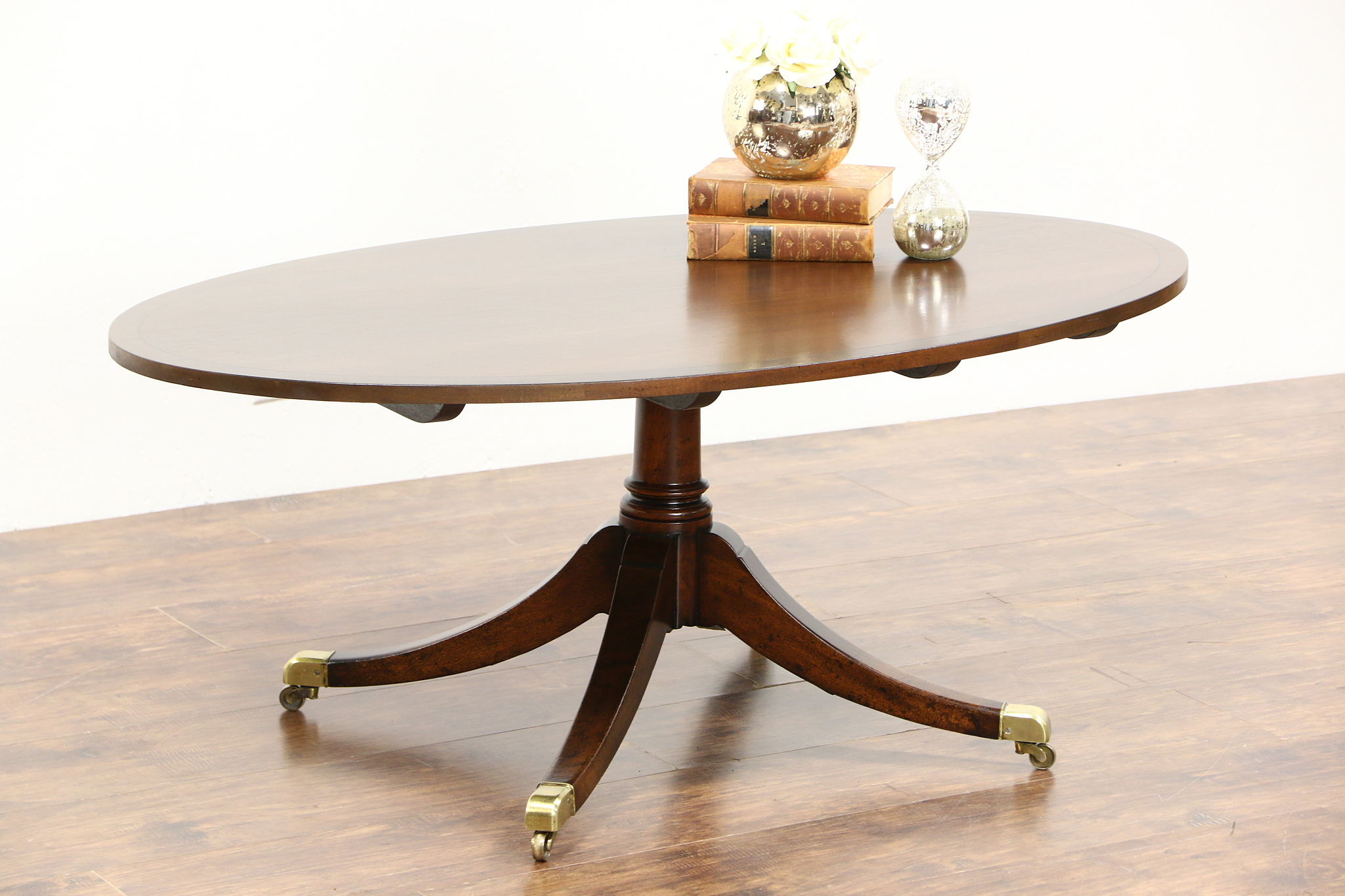 Georgian Style Vintage Oval Coffee Table Banded Mahogany Br Feet