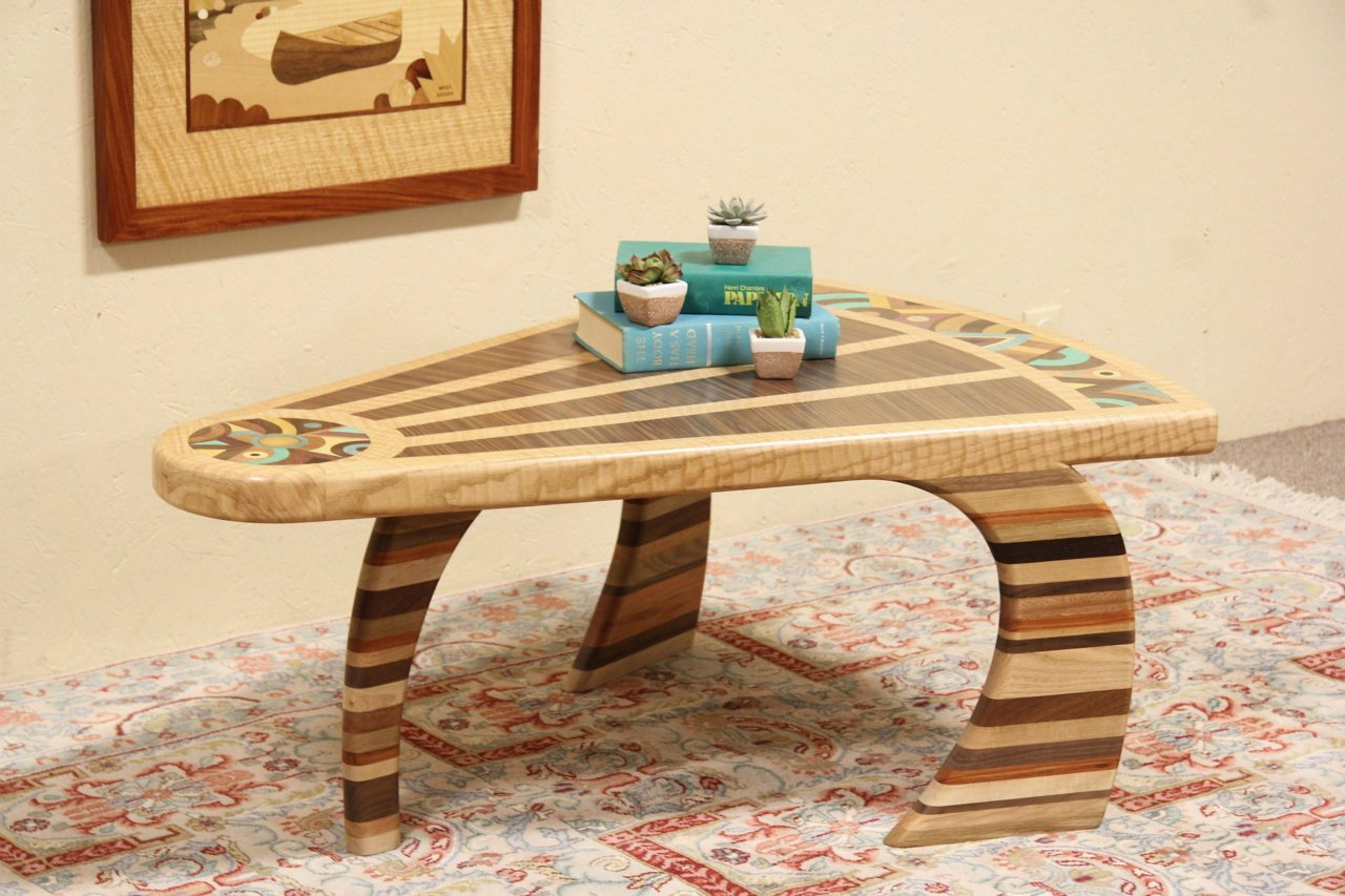 Sold Artisan Coffee Table Of Exotic Wood Marquetry