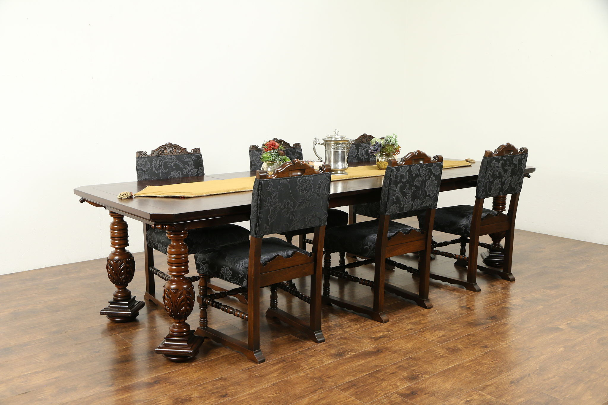 Renaissance Antique Carved Walnut Dining Set, 6 Chairs, 10\' Table, Colby  #31234