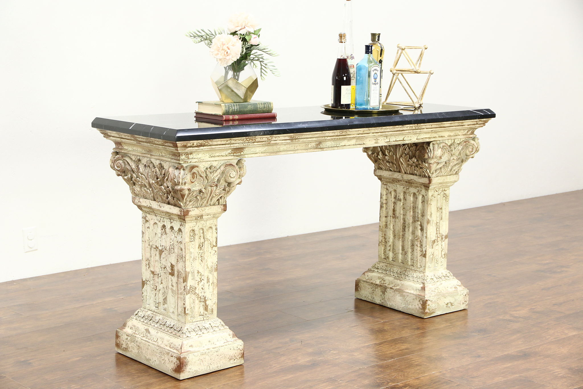 Marble Top Hall Console or Sofa Table Classical Faux Stone Base