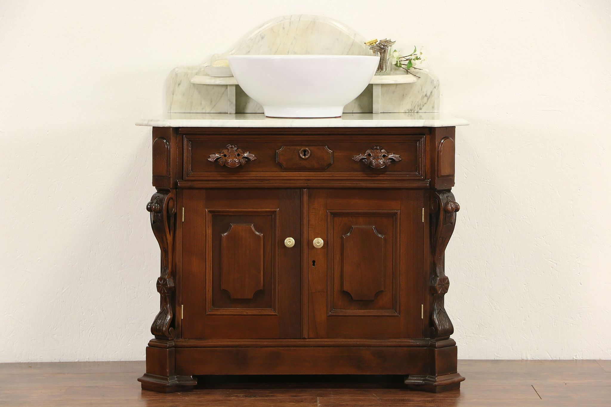 Commode furniture - Victorian Carved Walnut 1870 Antique Marble Top Commode Sink Vanity Or Bar