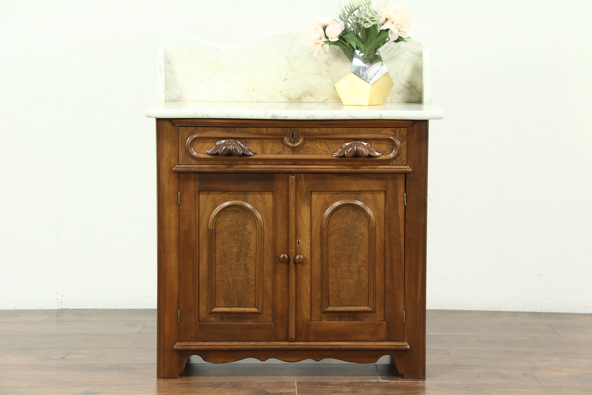 victorian antique 1860's walnut marble top small chest, commode or Marble Top Nightstand