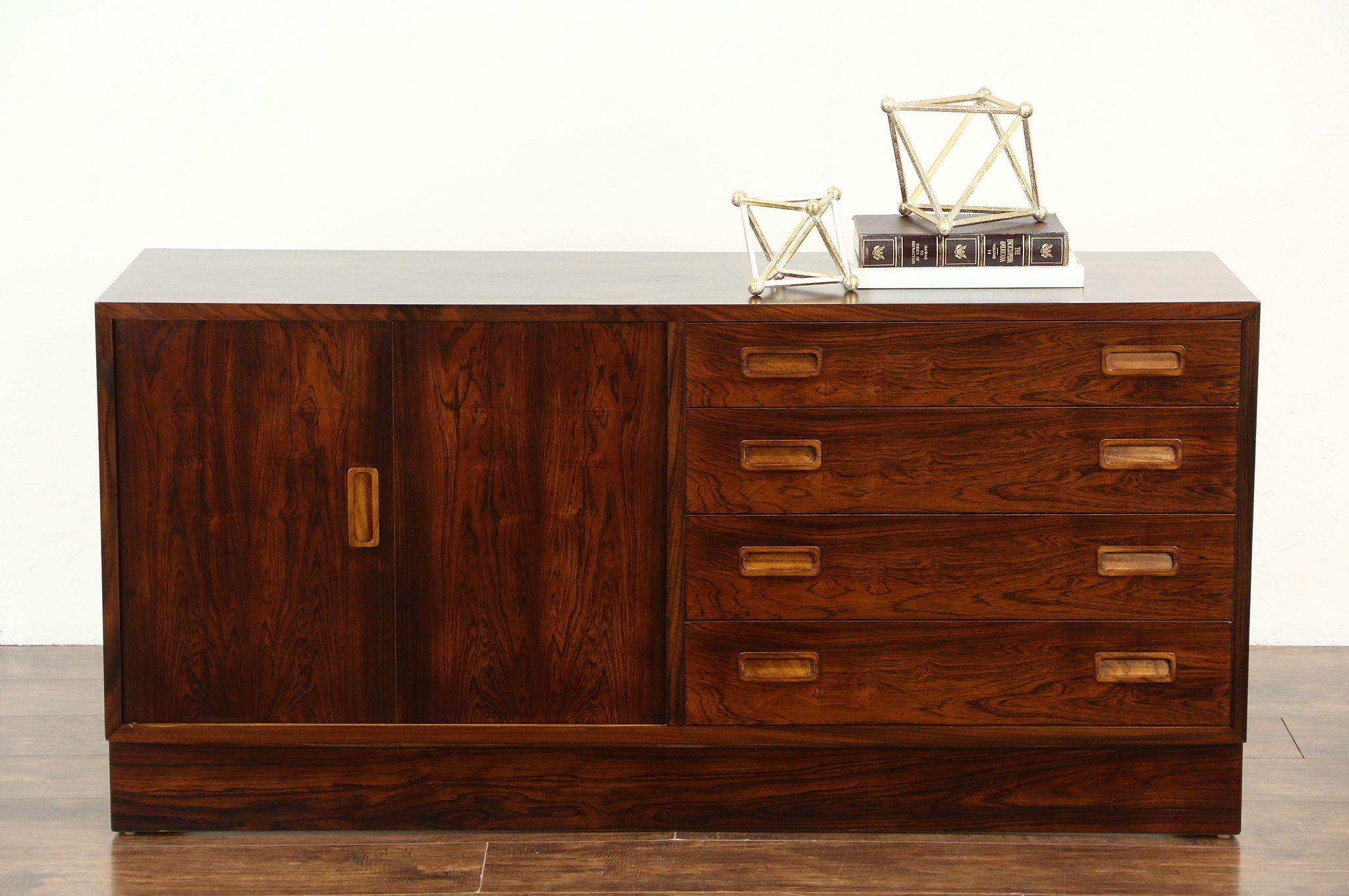 sold midcentury danish modern 60 39 s vintage rosewood sideboard or tv console cabinet harp gallery. Black Bedroom Furniture Sets. Home Design Ideas