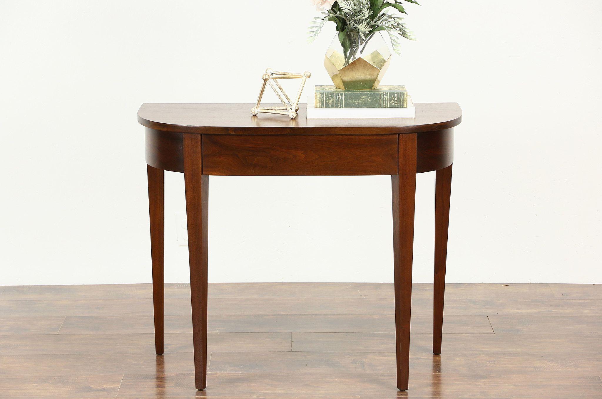 Hall Demilune Half Round Vintage Walnut Console Table