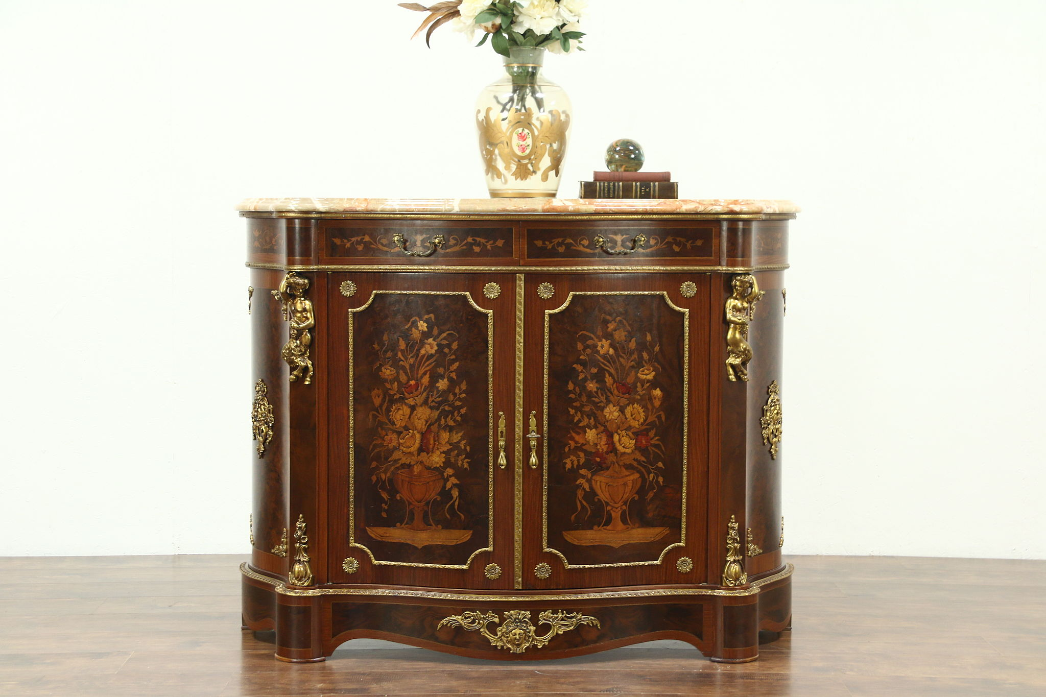 Incroyable Rosewood Marquetry Console Cabinet, Angel Cherub Mounts, Marble Top, Italy
