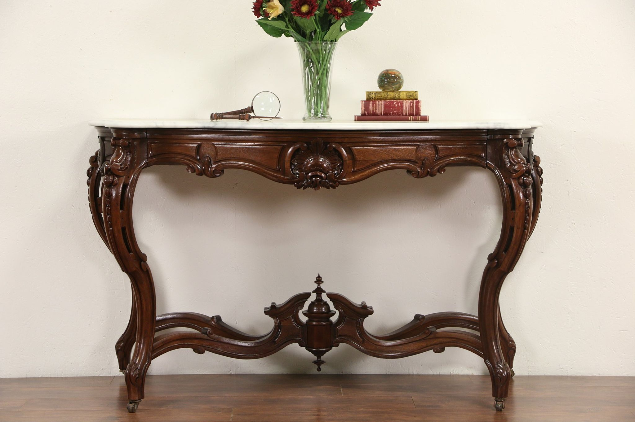 Bon French Rosewood Antique 1870u0027s Hall Console Table, Marble Top