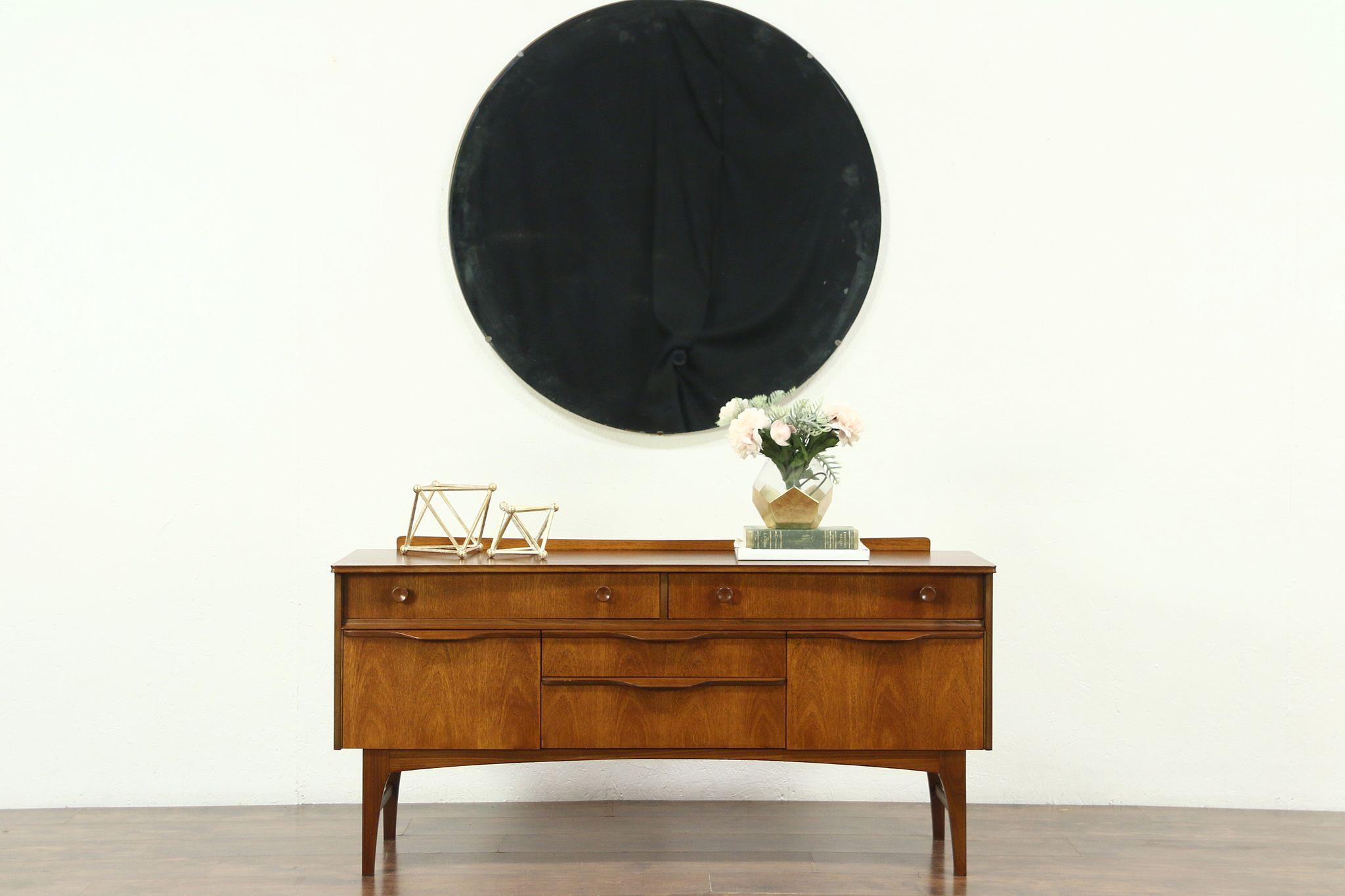 Sold Teak Midcentury Modern 1960 Vintage Tv Or Hall Entry Console Cabinet Sideboard Harp Gallery Antiques Furniture
