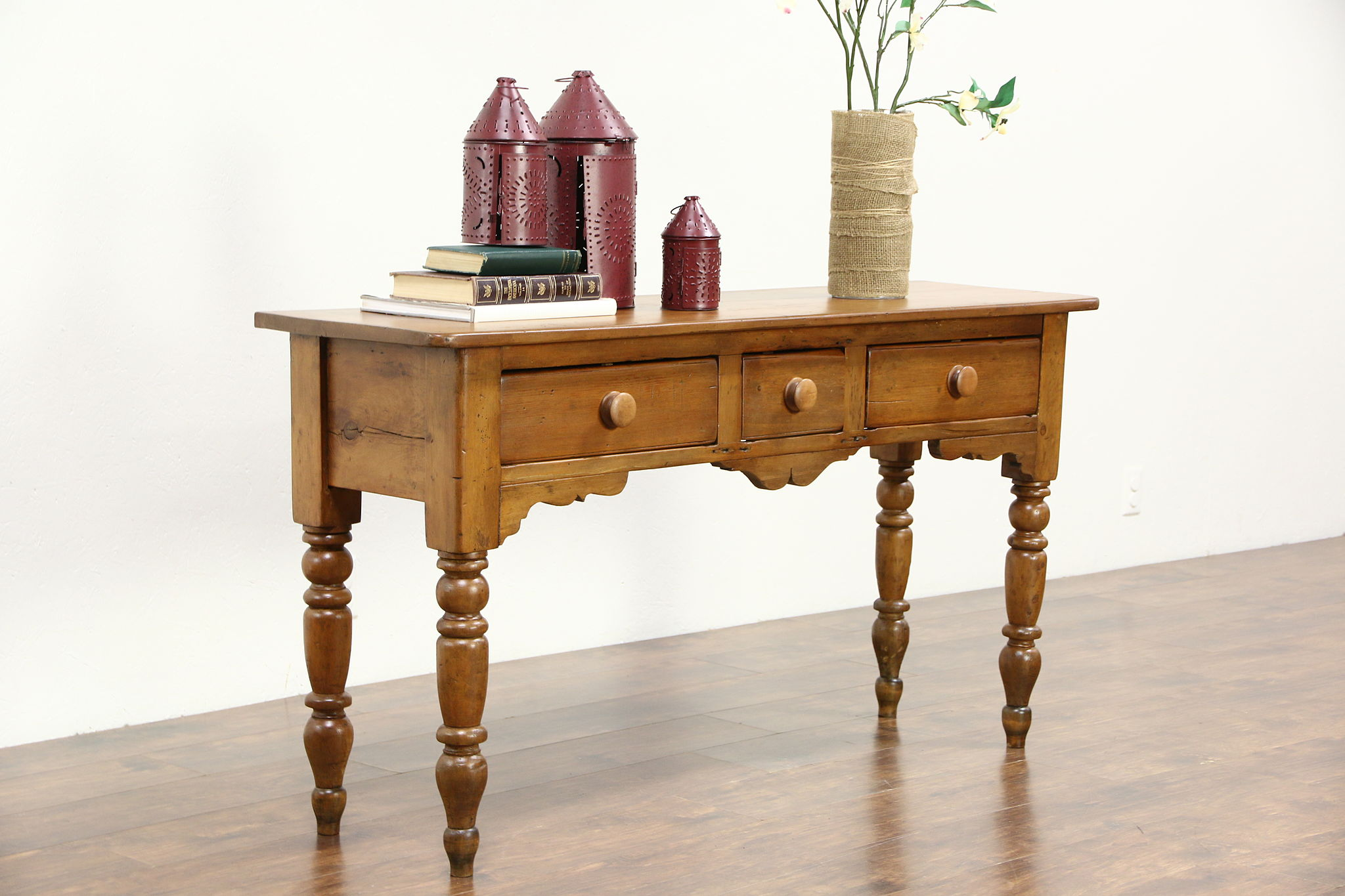 Hall Console country pine 1860's antique english sofa table or hall console
