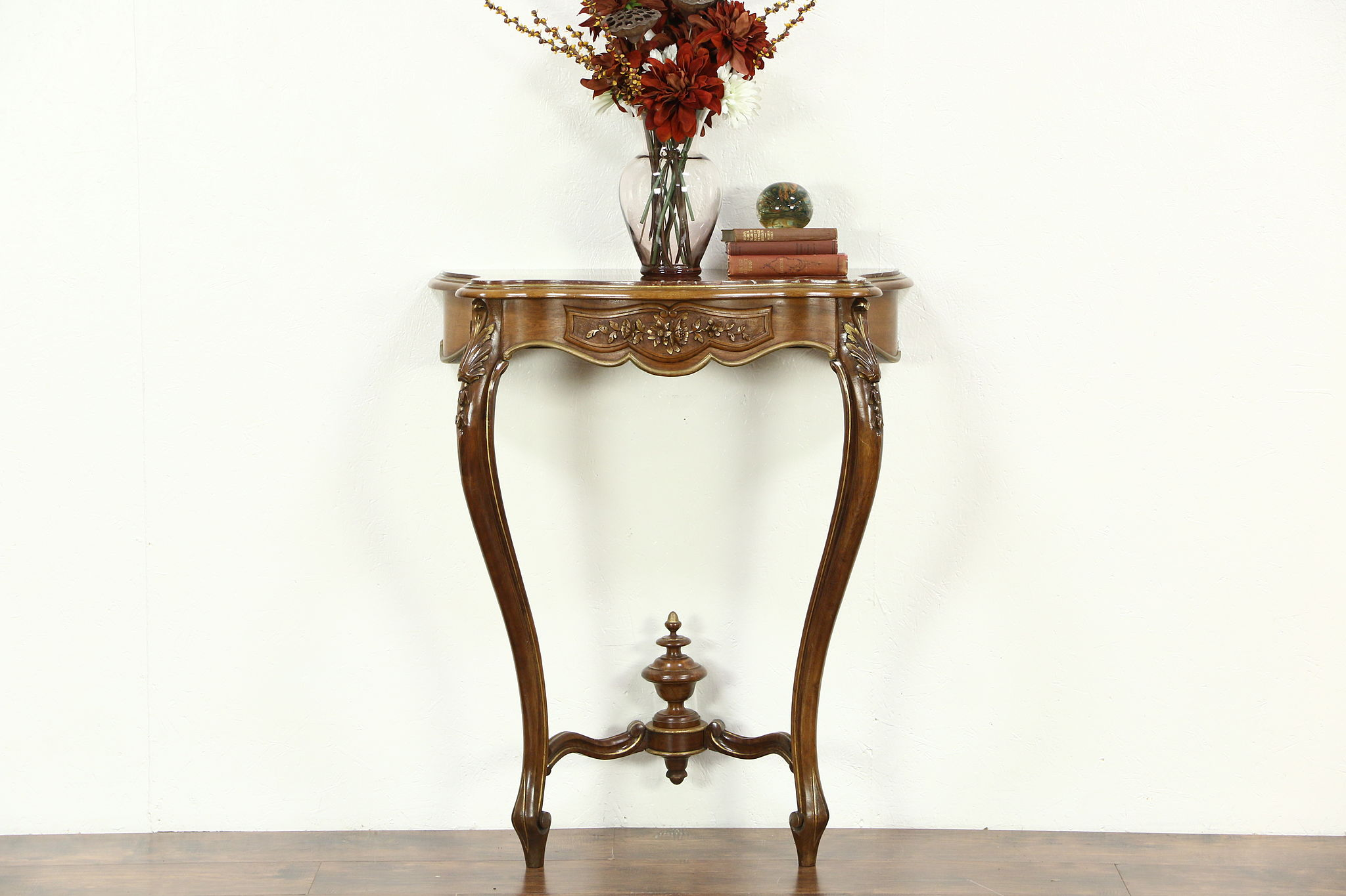 Hall Console french marble top hand carved 1920's antique hall console table