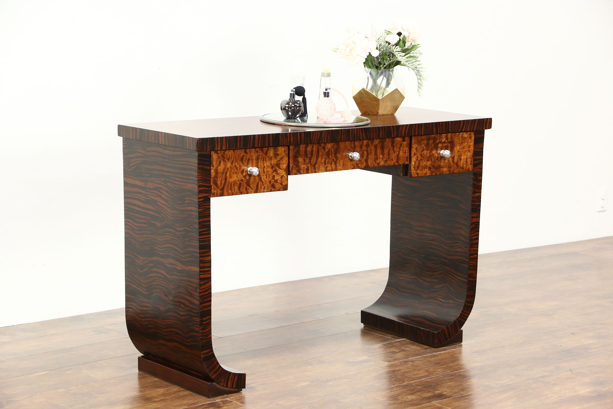 Macassar Ebony Birdseye Curly Maple Art Deco Desk Vanity Dressing Table