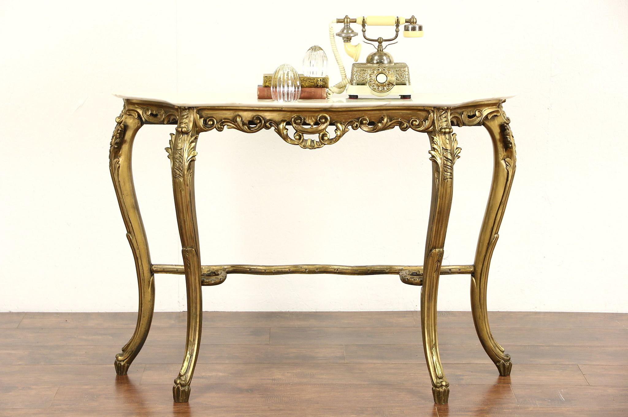 sold italian carved 1930 39 s antique burnished gold hall console table marble top harp gallery. Black Bedroom Furniture Sets. Home Design Ideas