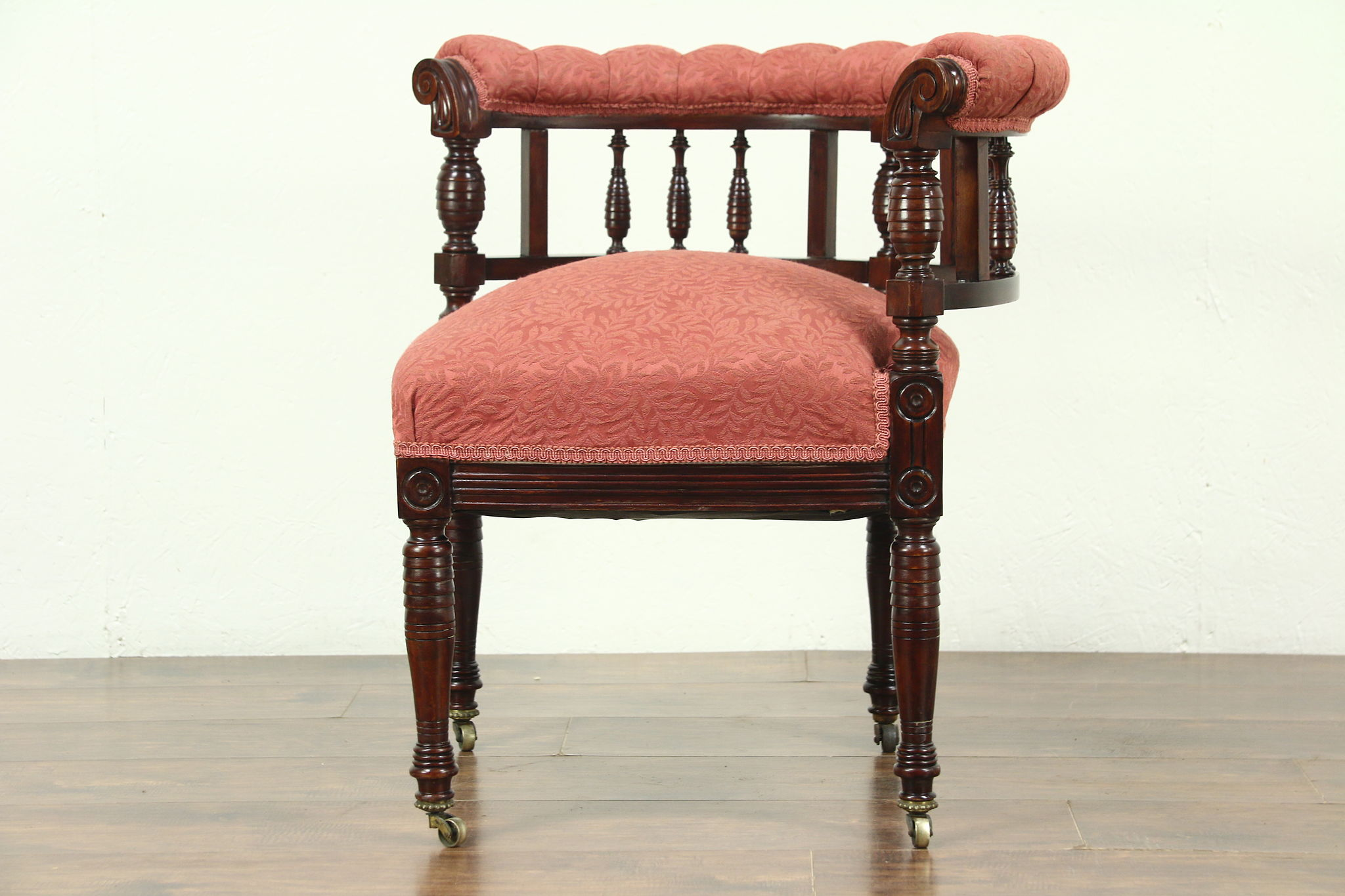 Victorian Antique 1885 Carved Corner Chair, Recent Upholstery ...