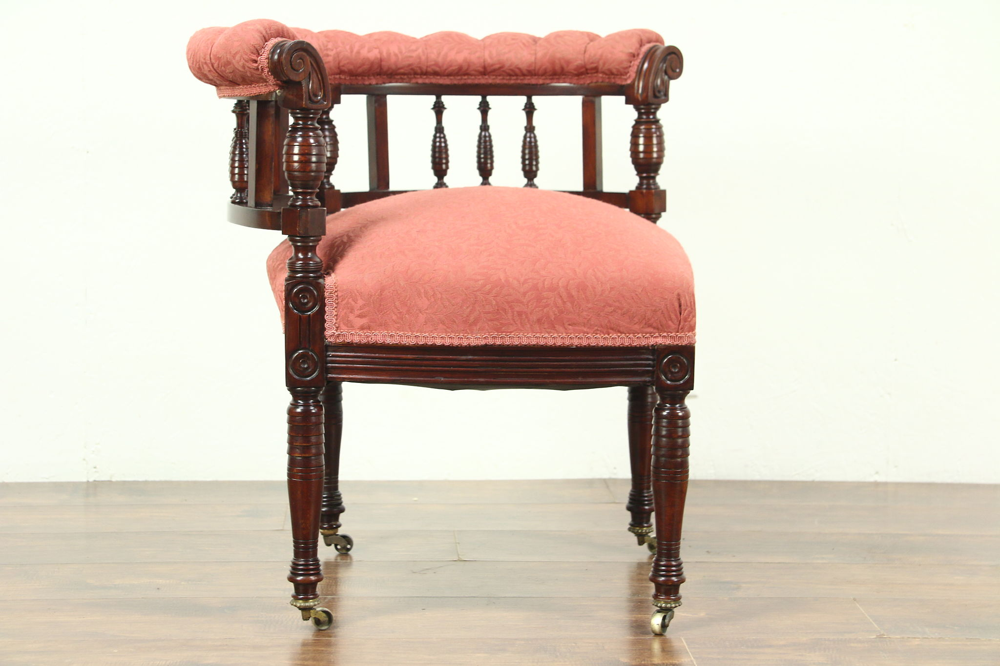 victorian antique 1885 carved corner chair recent upholstery harp