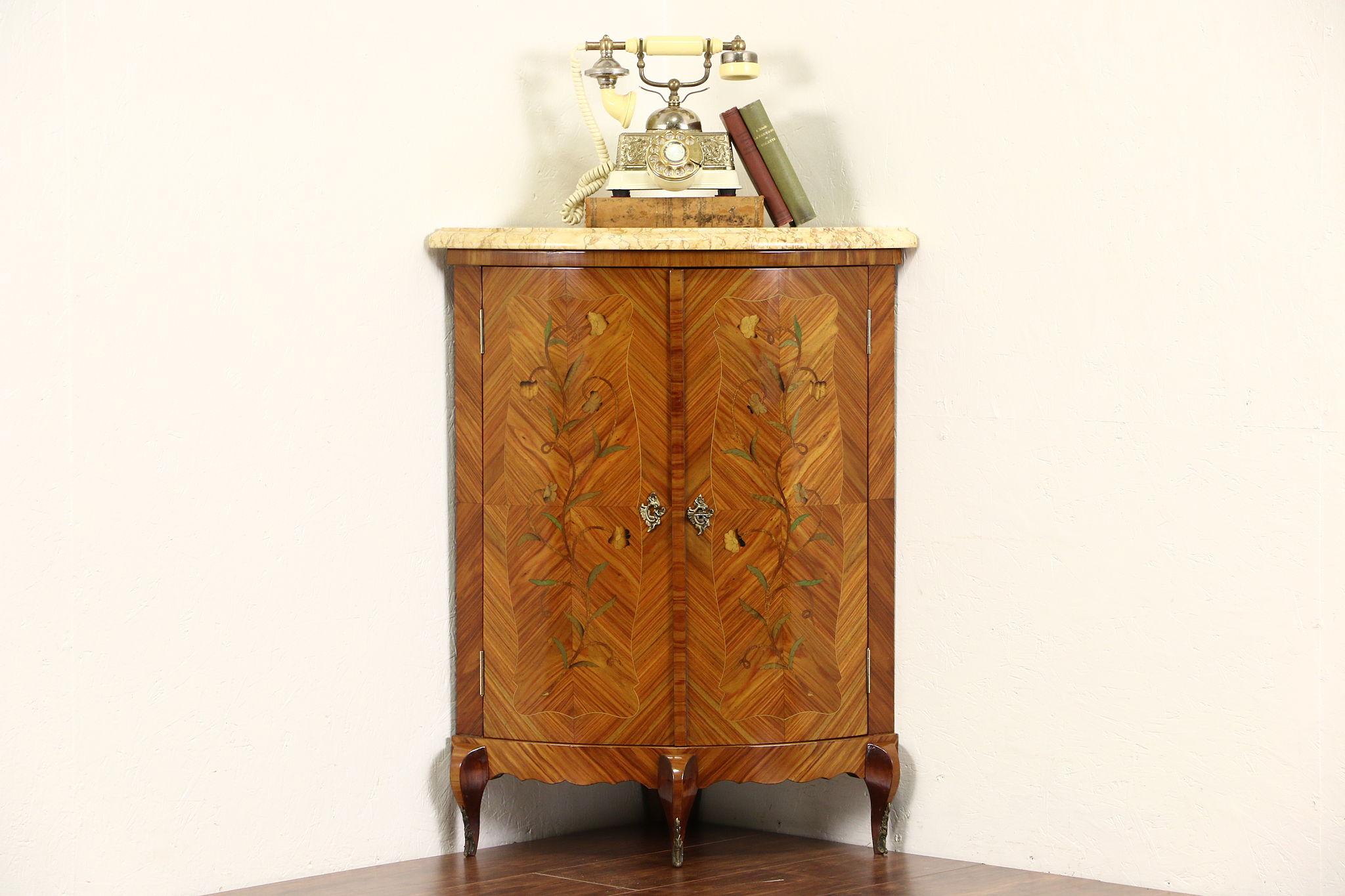 Vintage Corner Cabinet Italian Rosewood Marquetry 1950 Vintage Corner Cabinet Marble Top