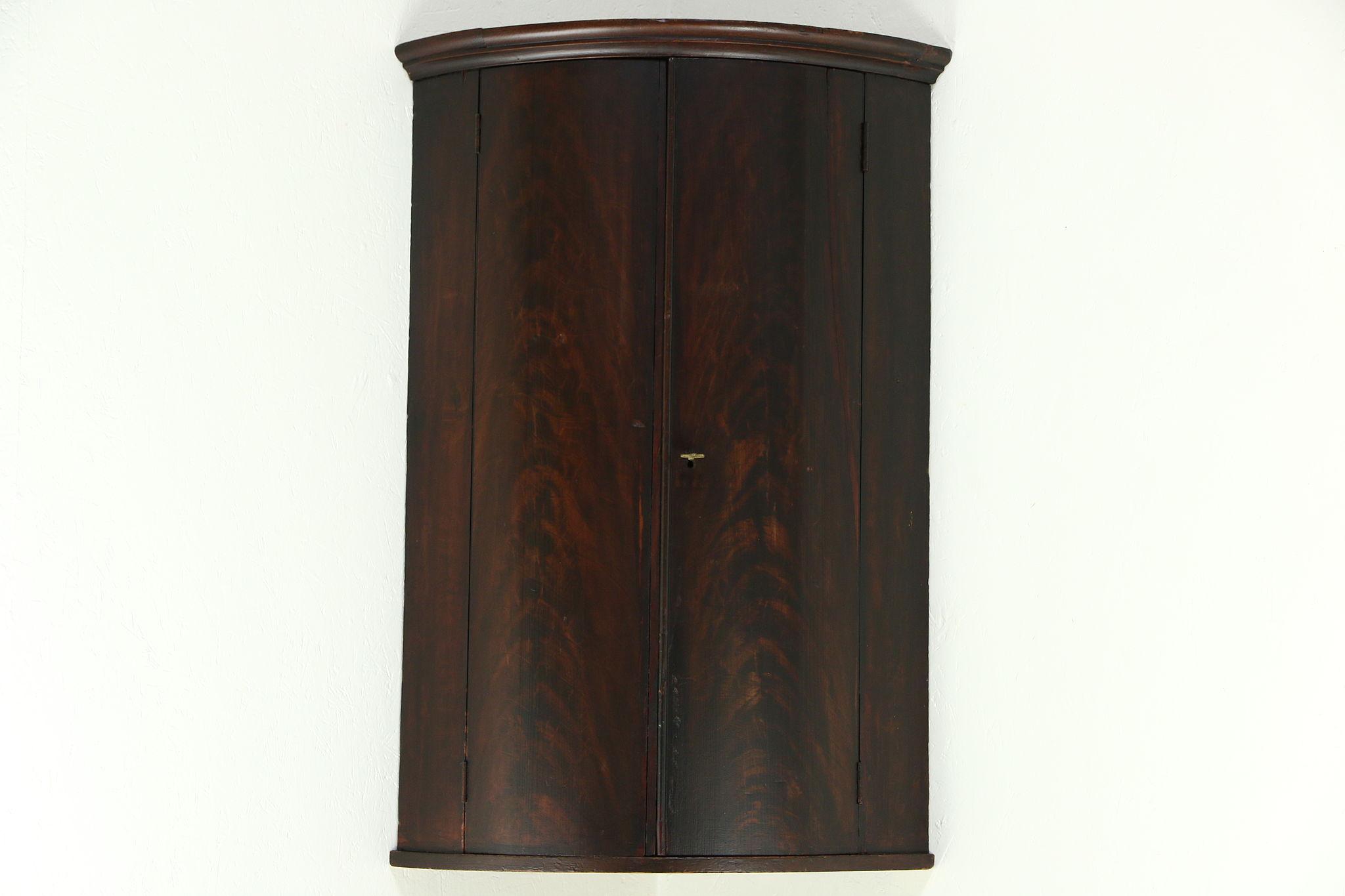 Corner Hanging Cabinet German 1800s Antique Painted Hanging Curved Corner Cabinet Or