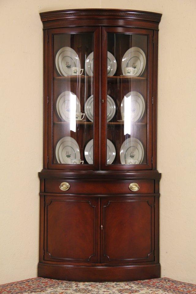 Drexel Travis Court Mahogany 1950u0027s Vintage Curved Glass Corner Cabinet