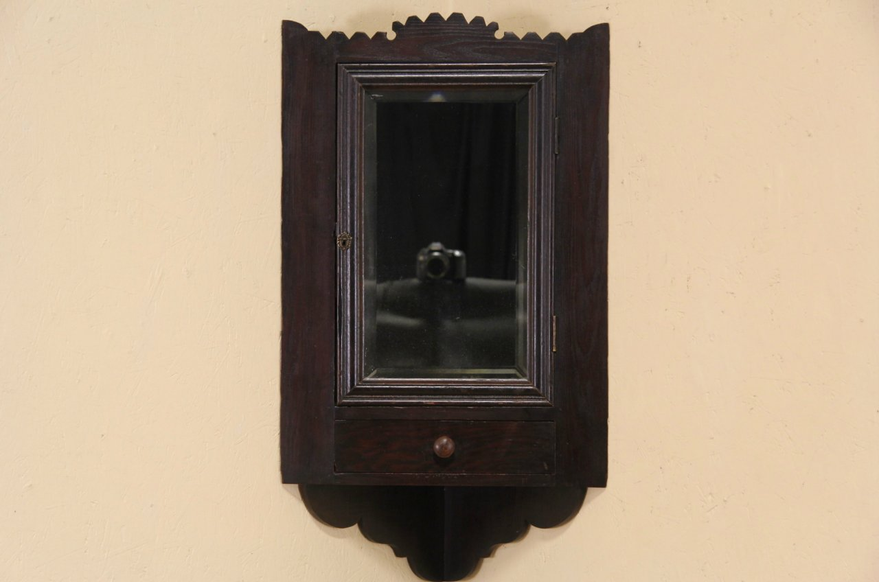 Beau Small Antique Brass Medicine Cabinet: Folk Art 1890's Antique Corner Cupboard Medicine