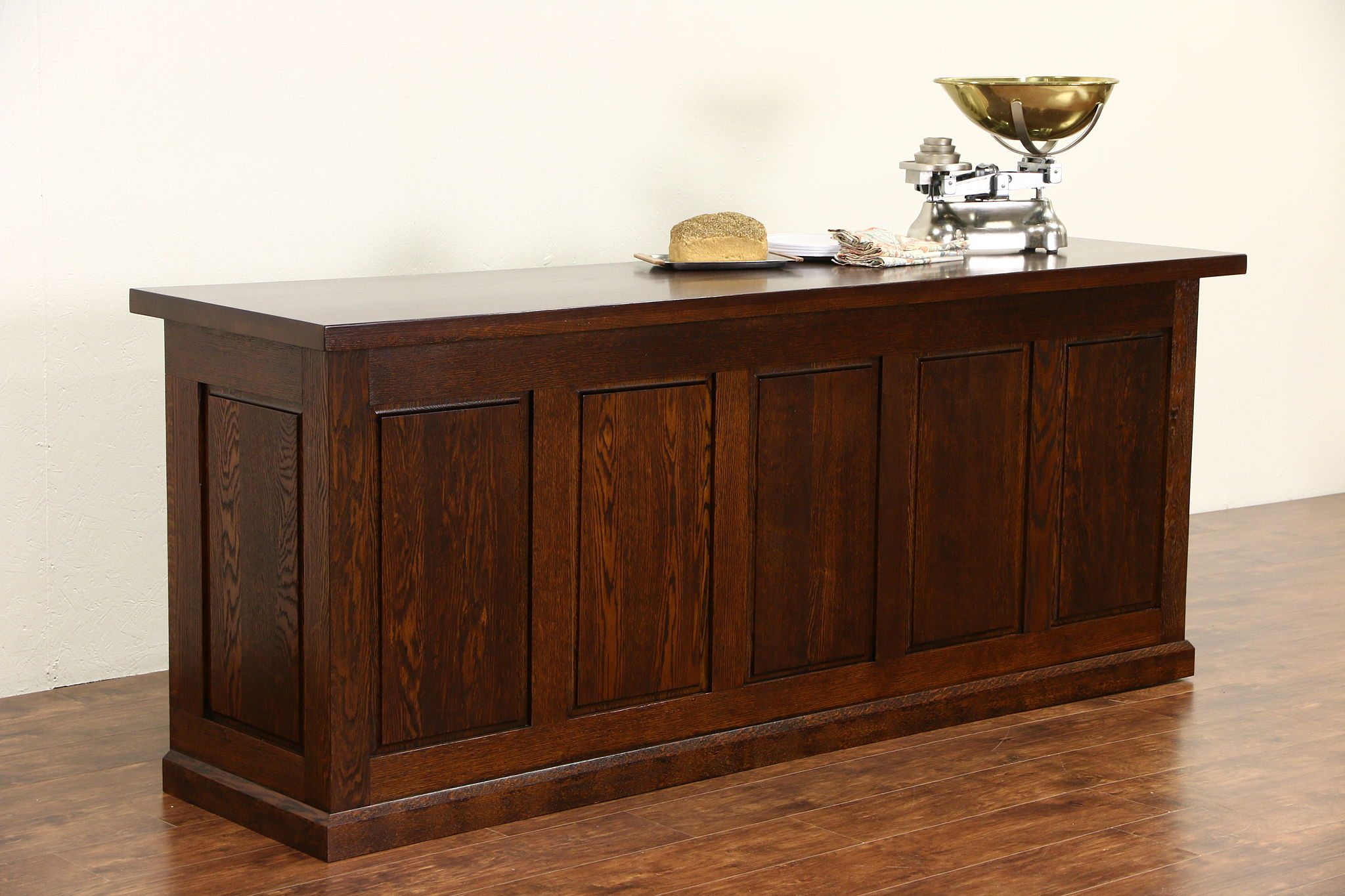 sold oak 1900 craftsman store counter bar or kitchen island oak 1900 craftsman store counter bar or kitchen island raised panels