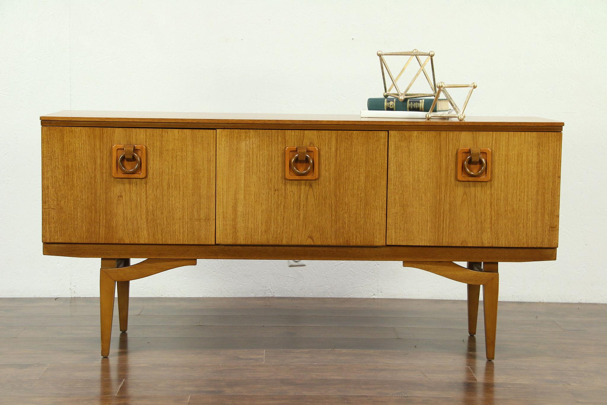 Midcentury modern 1960 vintage teak bar cabinet wide tv console