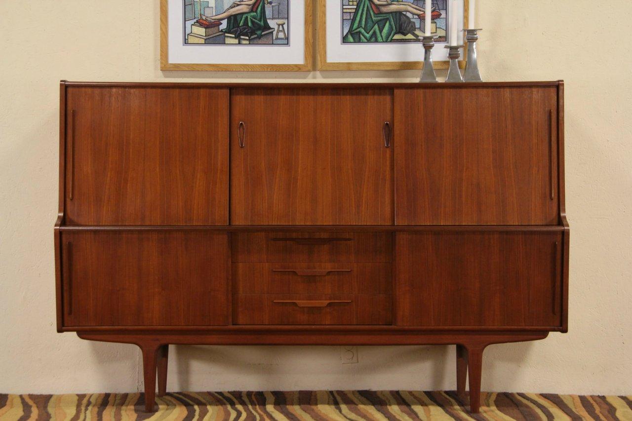 1960s Danish Credenza : Sold midcentury danish modern teak credenza or china cabinet