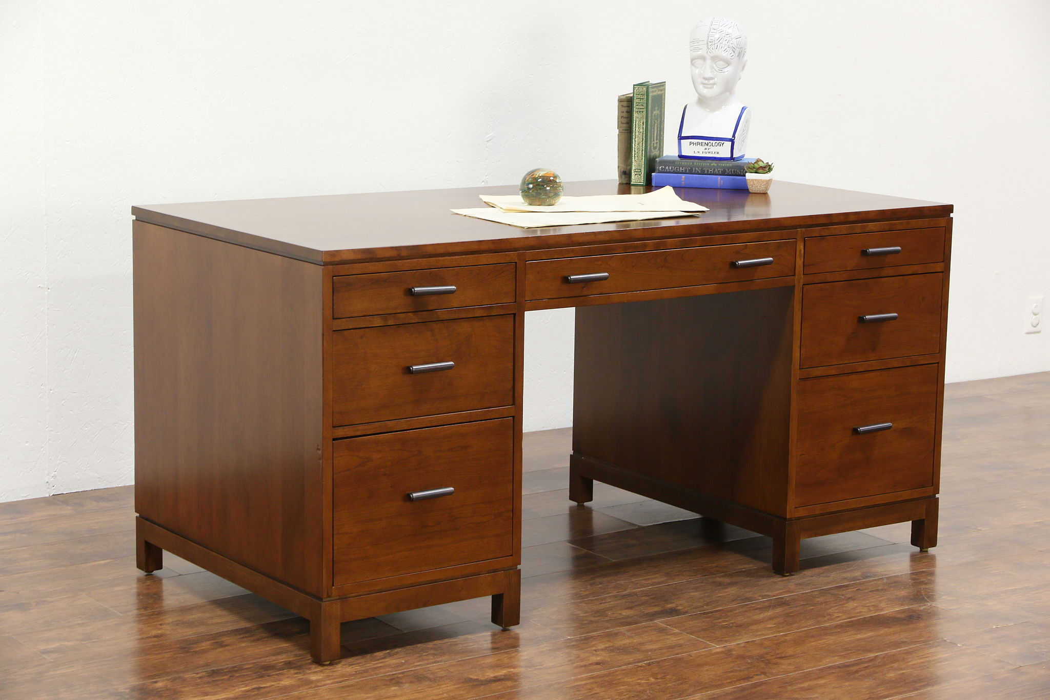 Stickley Signed Cherry 2017 Library Or Executive Desk 2 File Drawers