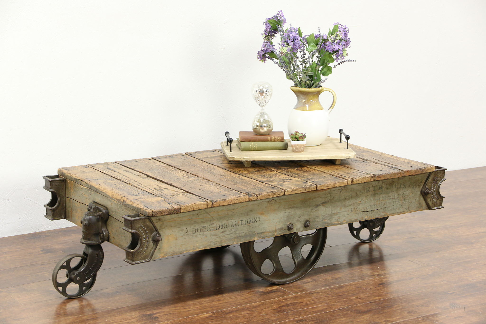 Oak U0026 Iron Salvage Antique Factory Cart, Coffee Table, Signed Francis Co