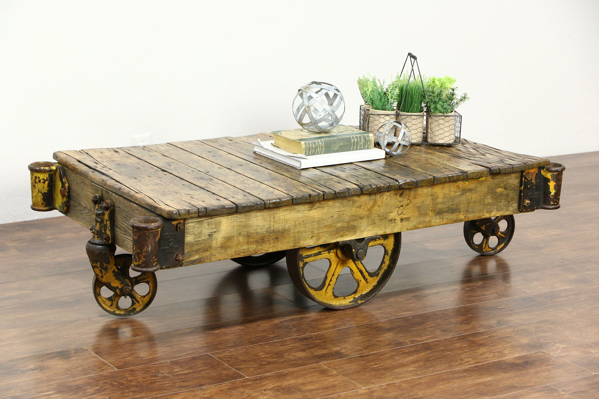 Sold industrial 1910 antique salvage 4 wheel factory cart or coffee table harp gallery Antique wheels for coffee table