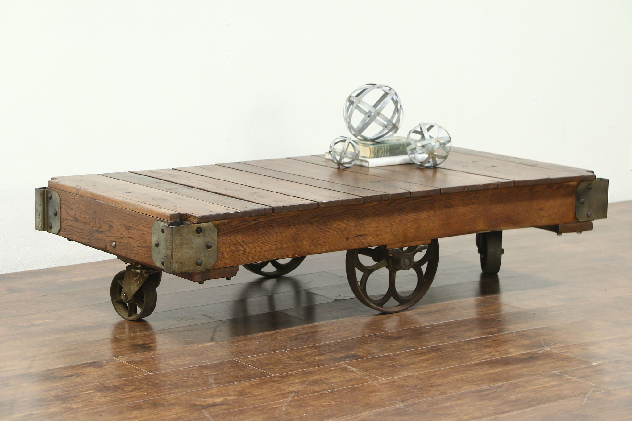 Industrial Salvage Vintage Cart Or Trolley, Iron Wheels, Coffee Table