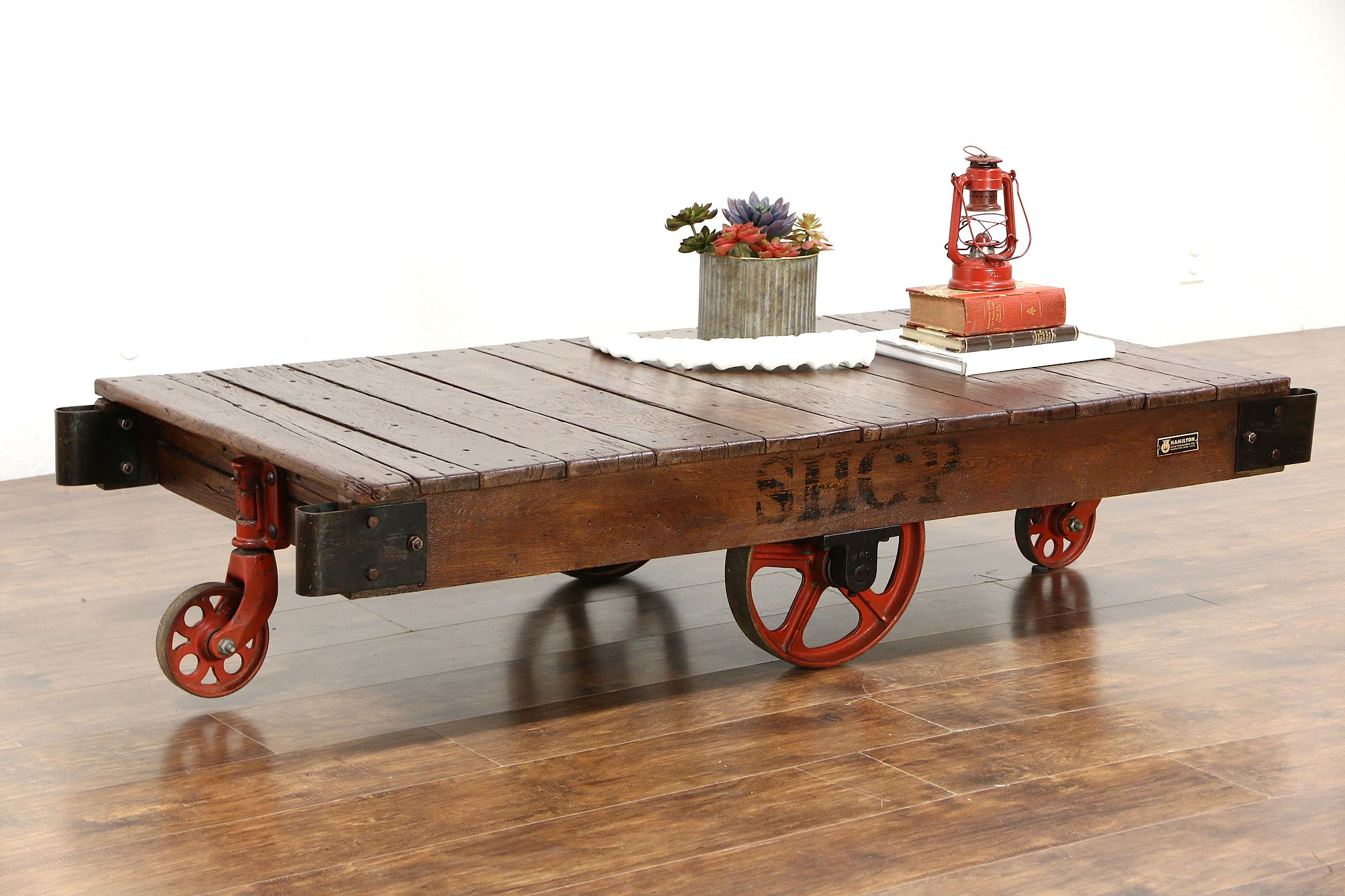 Industrial Salvage 1930 Vintage Factory Cart Trolley Or Coffee Table Hamilton