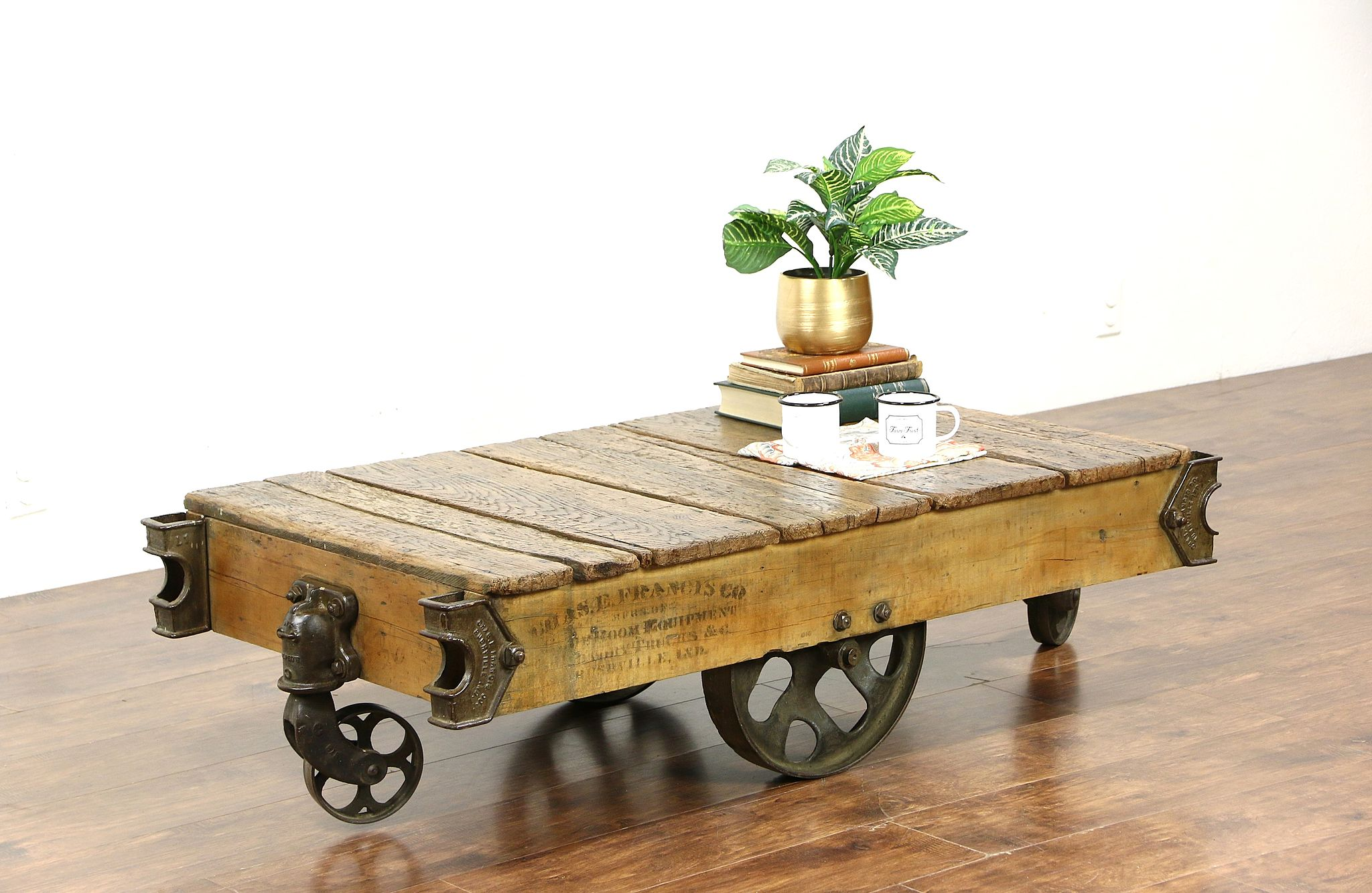 SOLD Industrial Salvage 1930 Vintage Factory Cart or Coffee