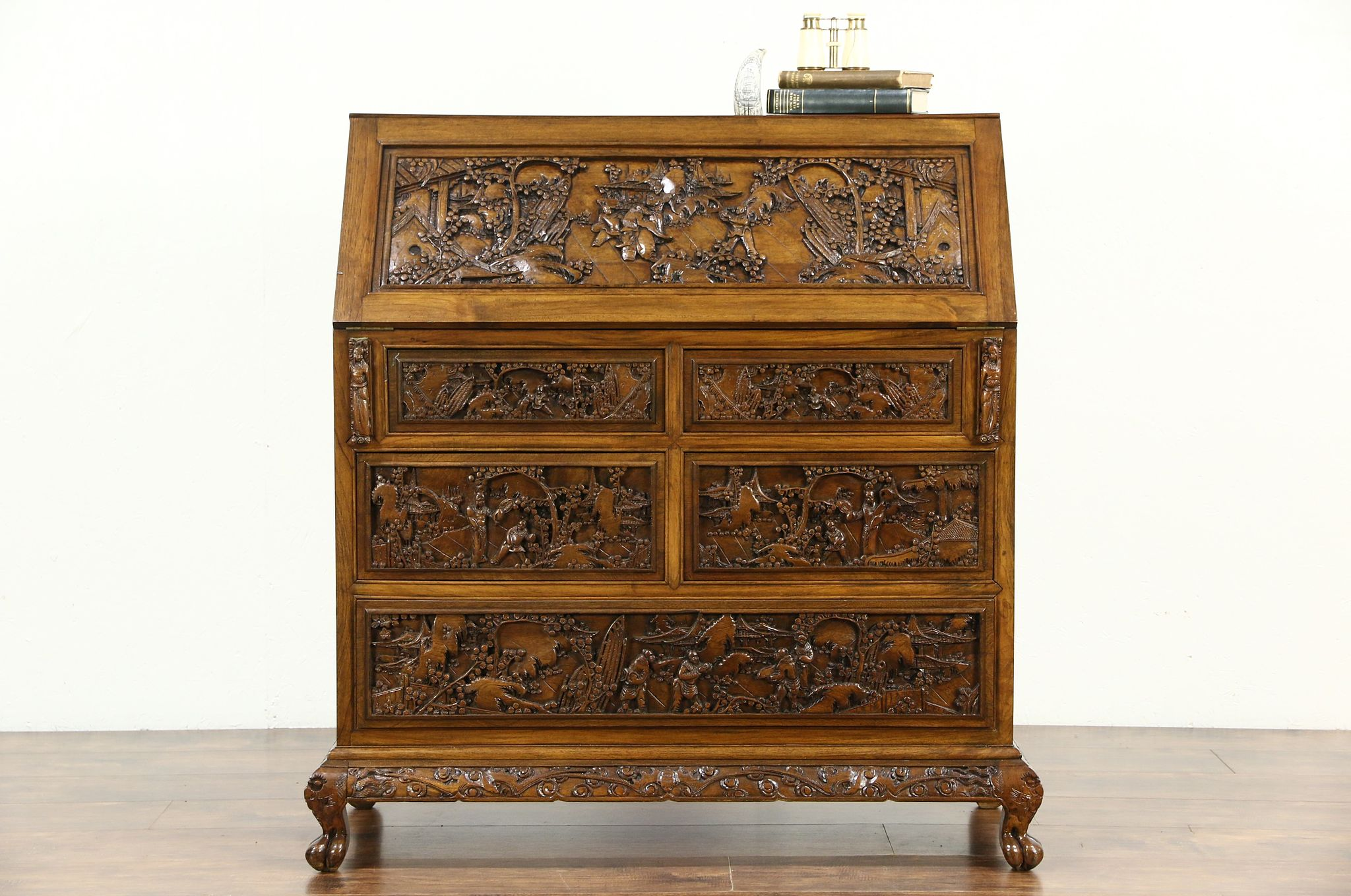 Chinese Hand Carved Teak 1930 S Vintage Secretary Desk