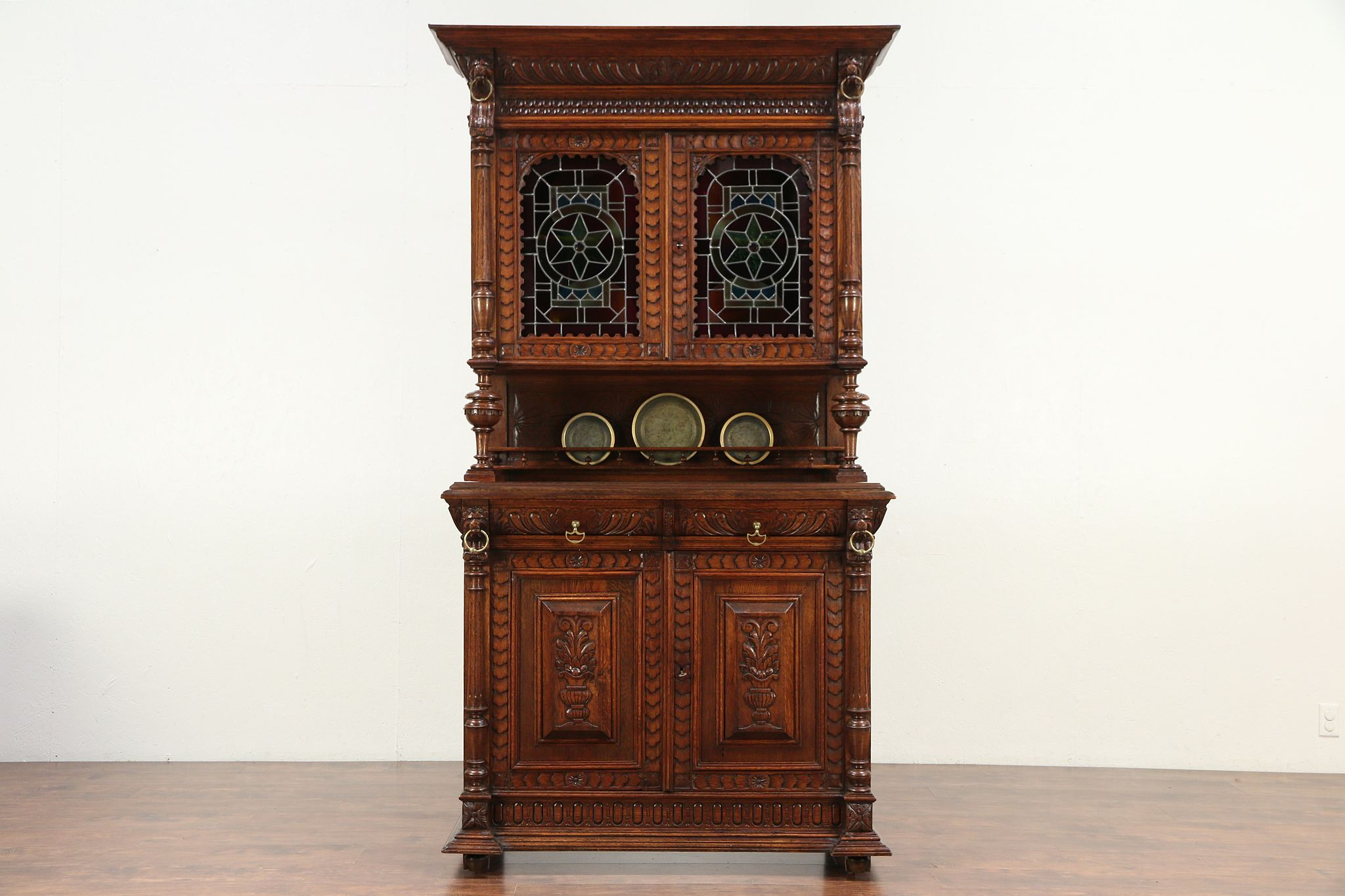 oak antique french sideboard china cabinet court cupboard stained glass 29642 - Antique Cupboard