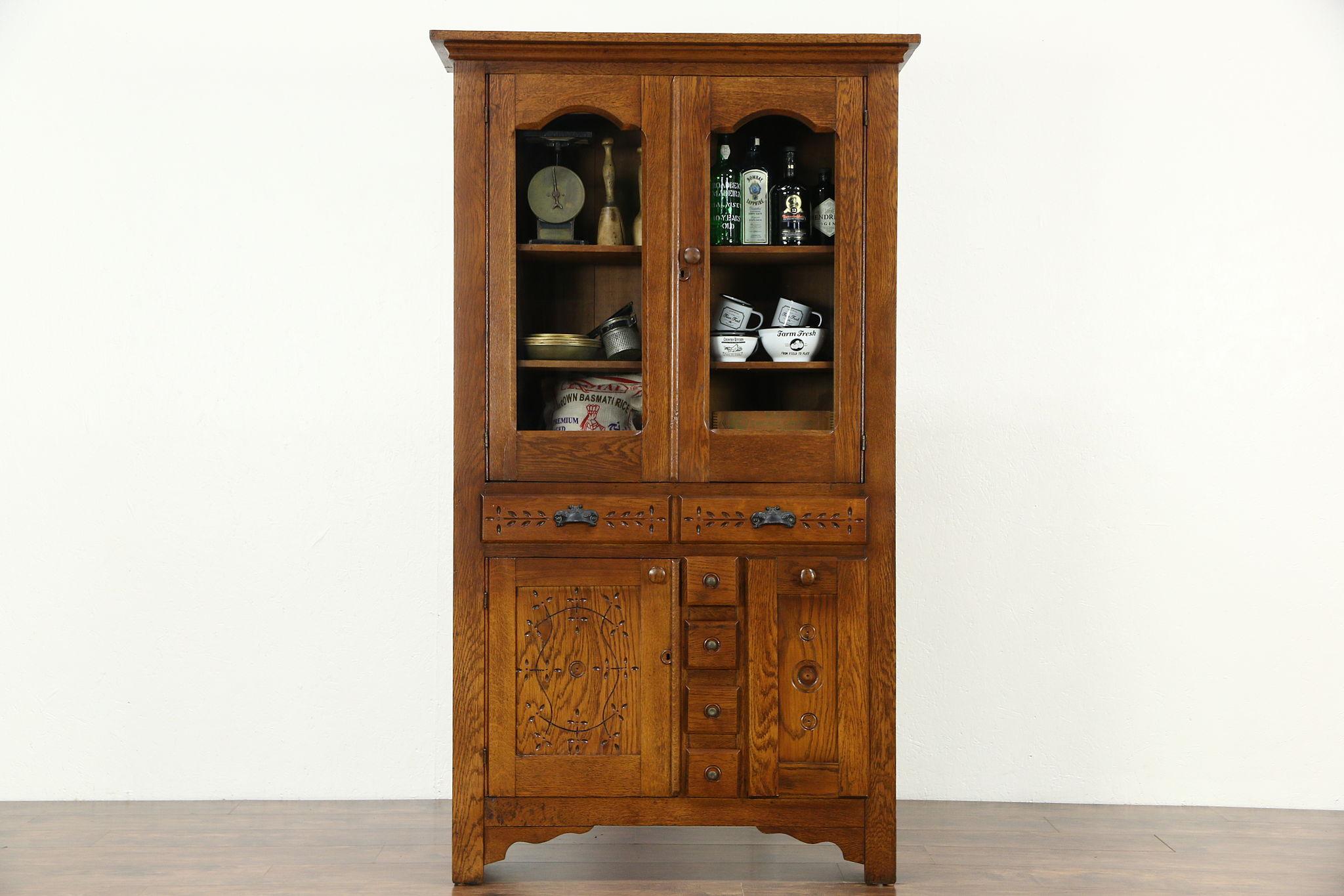 Victorian Eastlake 1895 Antique Oak Pantry Cabinet Kitchen Cupboard, Flour  Bin