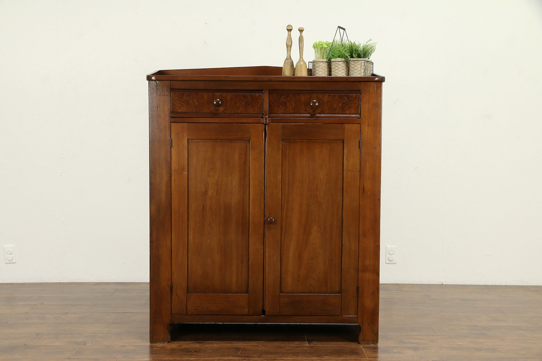 Country Walnut Antique 1860 Kitchen Pantry Cabinet Or Jelly Cupboard 32576