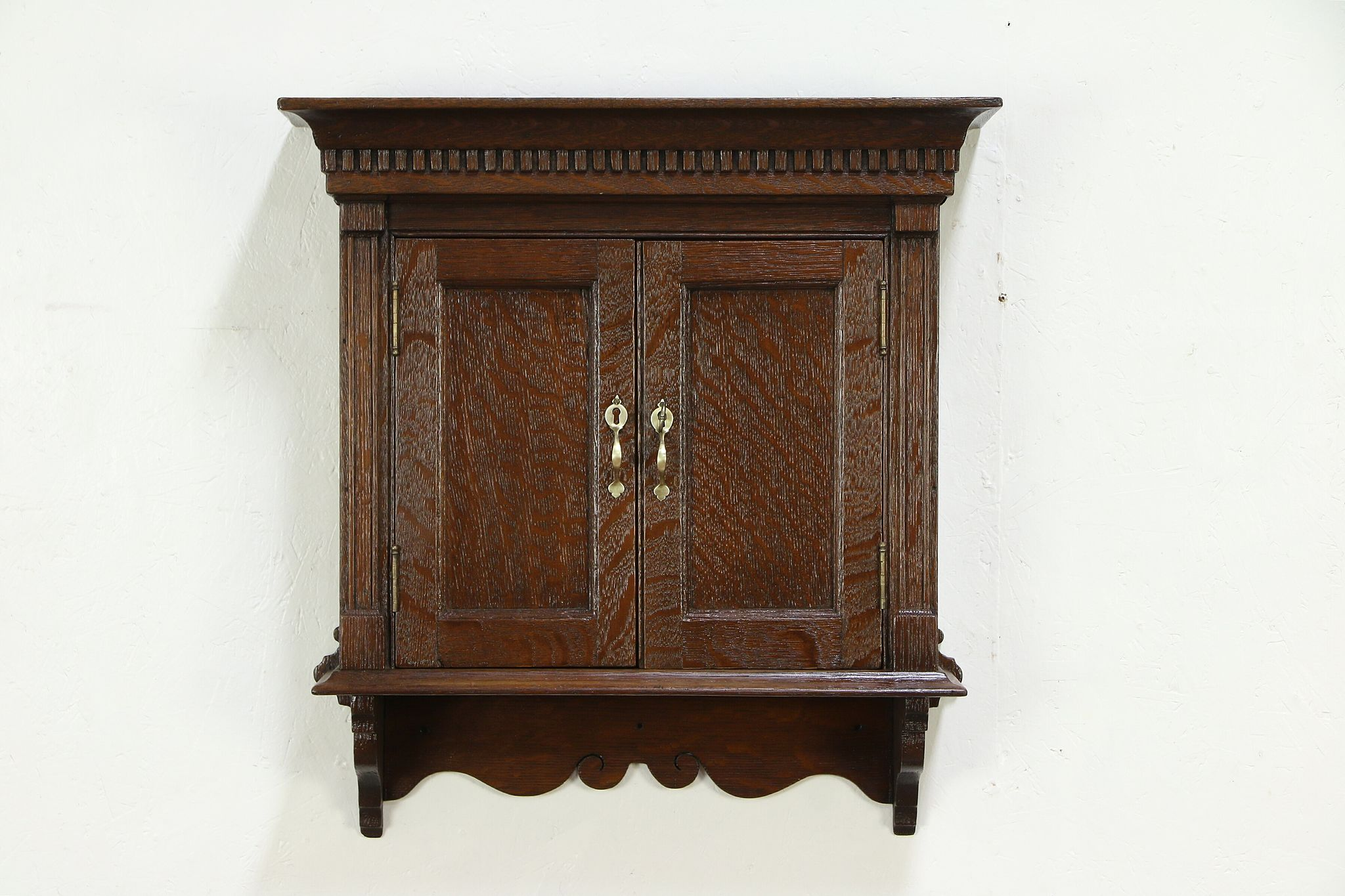 Oak Victorian Antique Hanging Cupboard Wall Cabinet Or Medicine Chest 30159