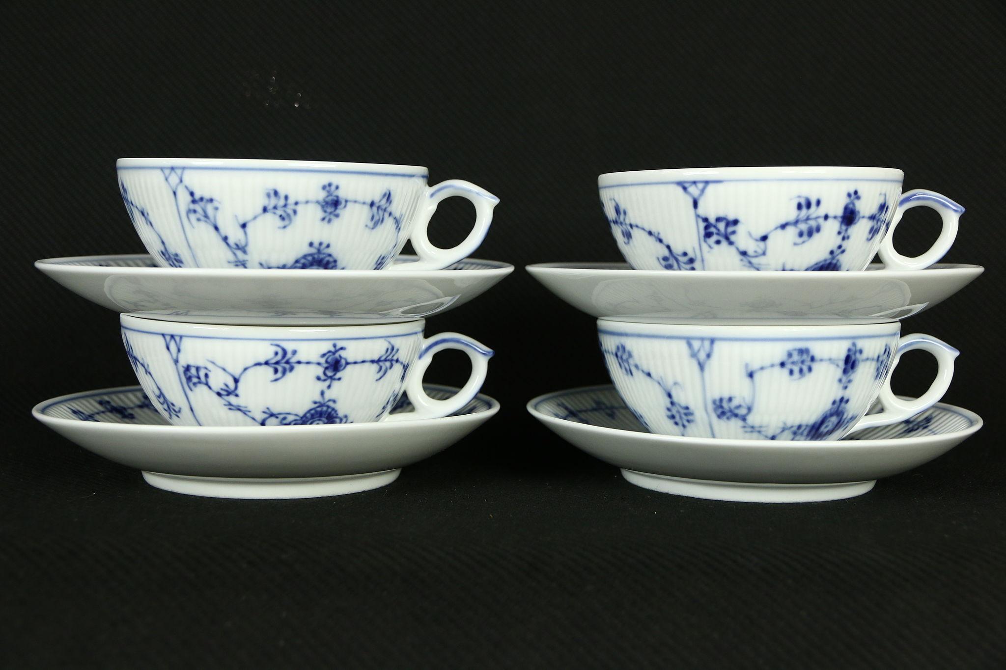 Royal Copenhagen Blue Fluted Set of 4 Cups \u0026 Saucers & SOLD - Royal Copenhagen Blue Fluted Set of 4 Cups \u0026 Saucers - Harp ...