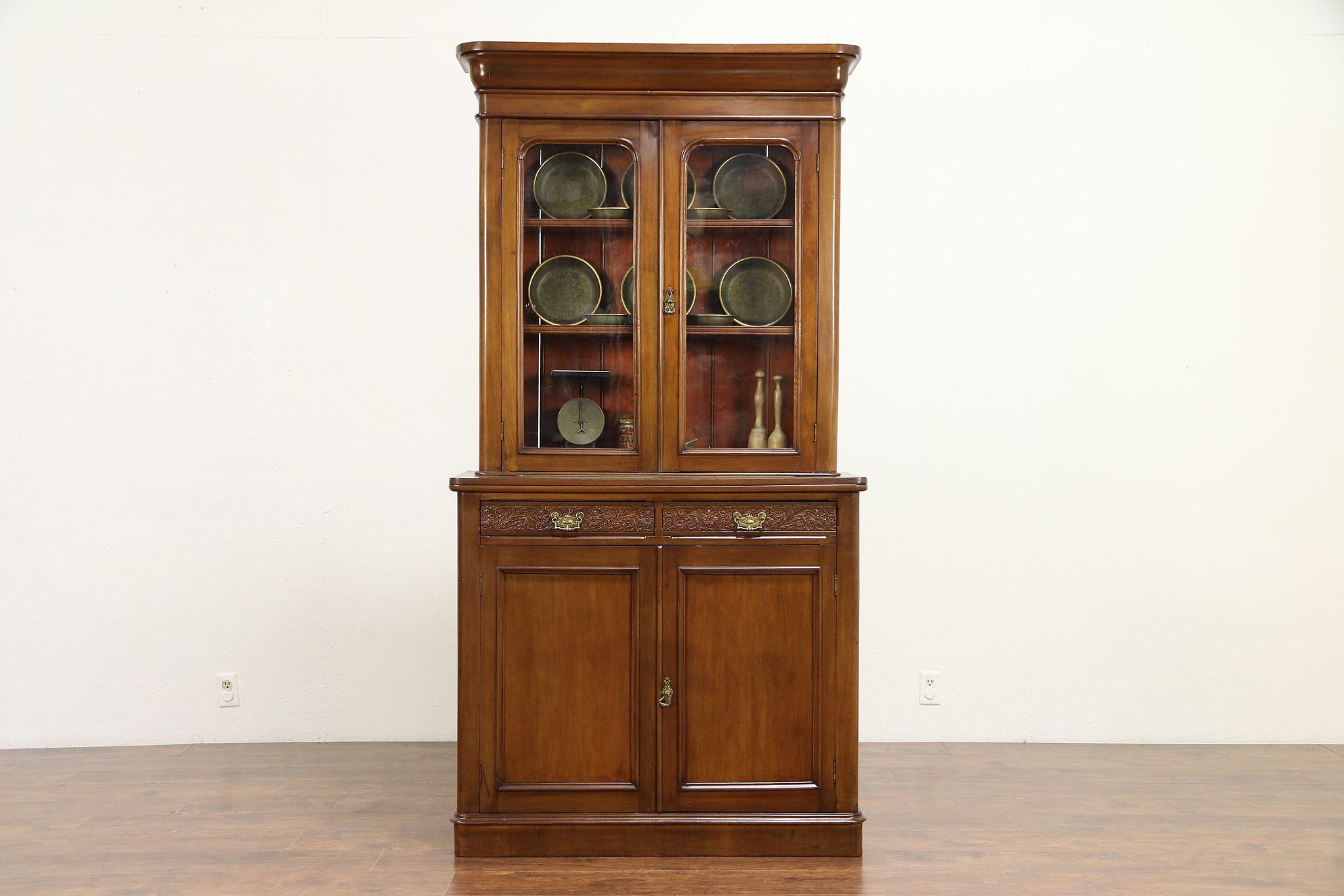 Victorian English Antique Mahogany Bookcase Cabinet Wavy Glass
