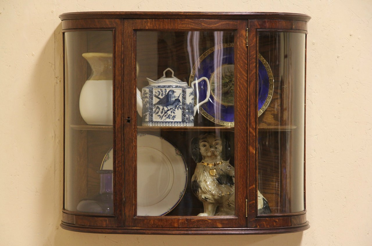 Lovely Hanging China Cabinet #20 - Oak 1900 Curved Glass Hanging Or Countertop Display Cabinet