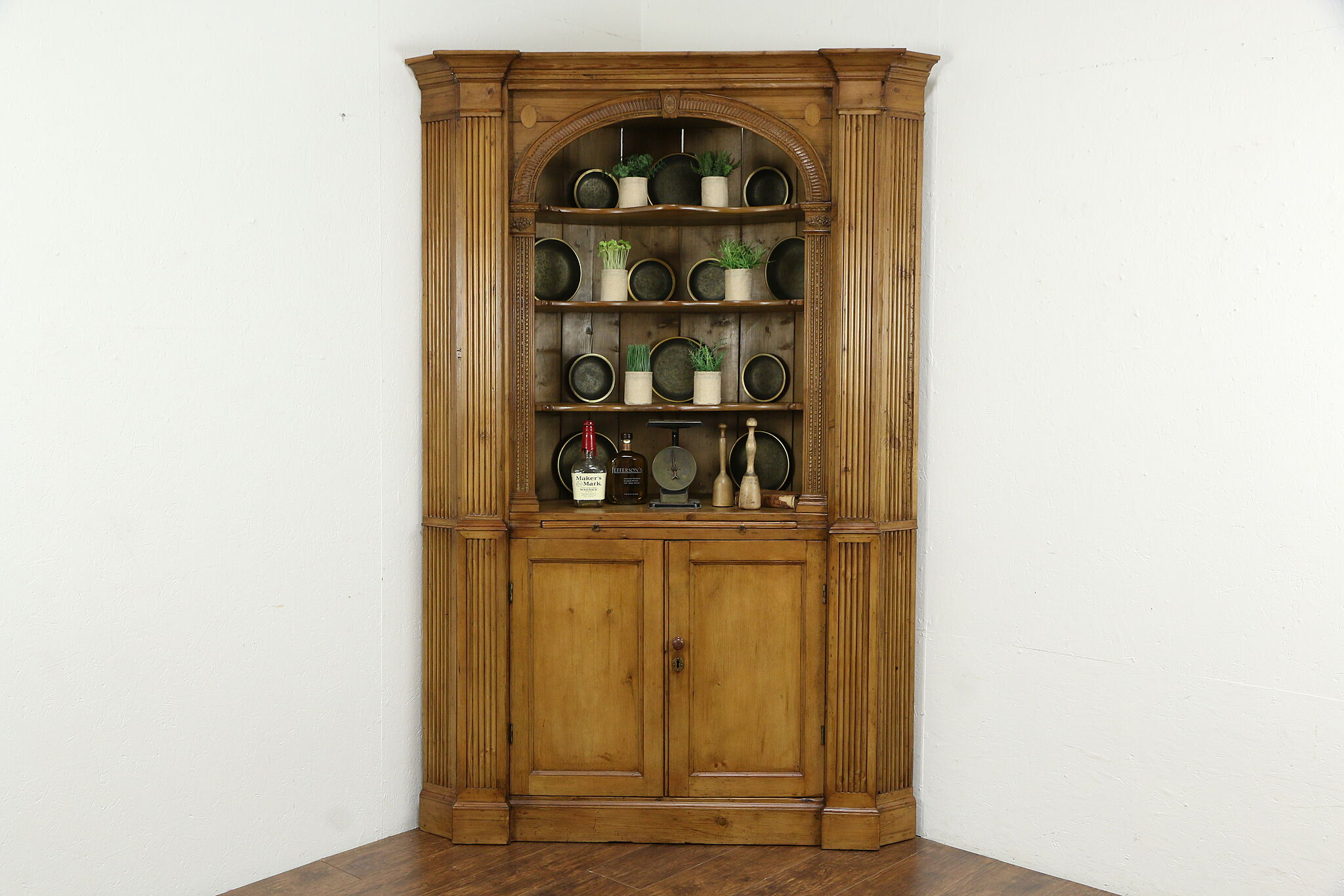 Georgian English Antique 1800 Classical Pine Corner Cupboard Or Cabinet 34940 Harp Gallery Antiques Furniture