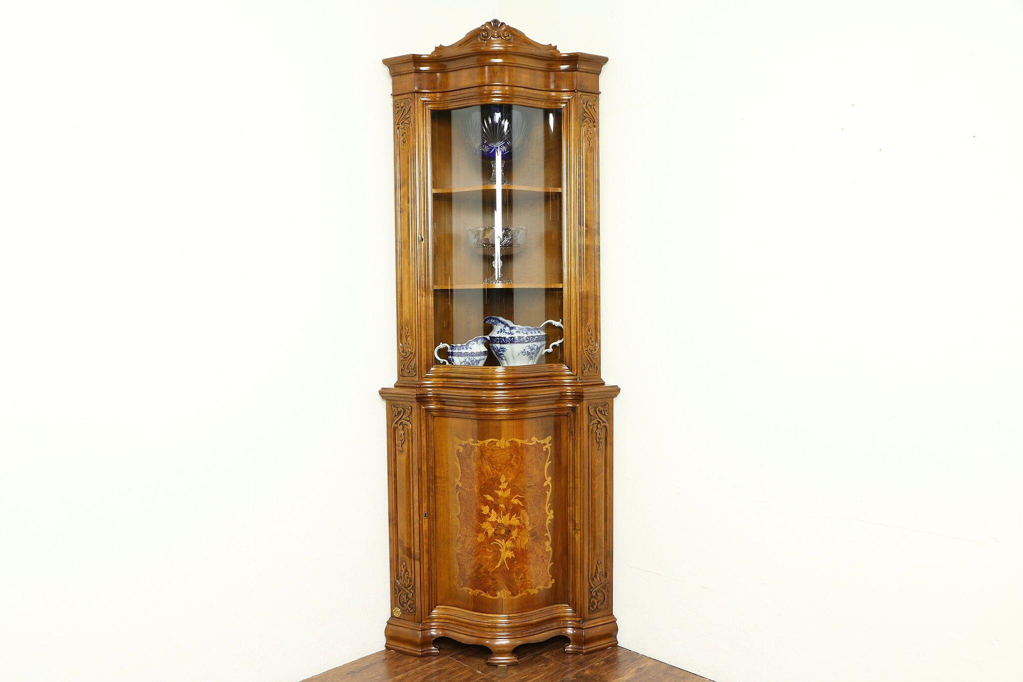 Marquetry Vintage Corner Curio Cabinet