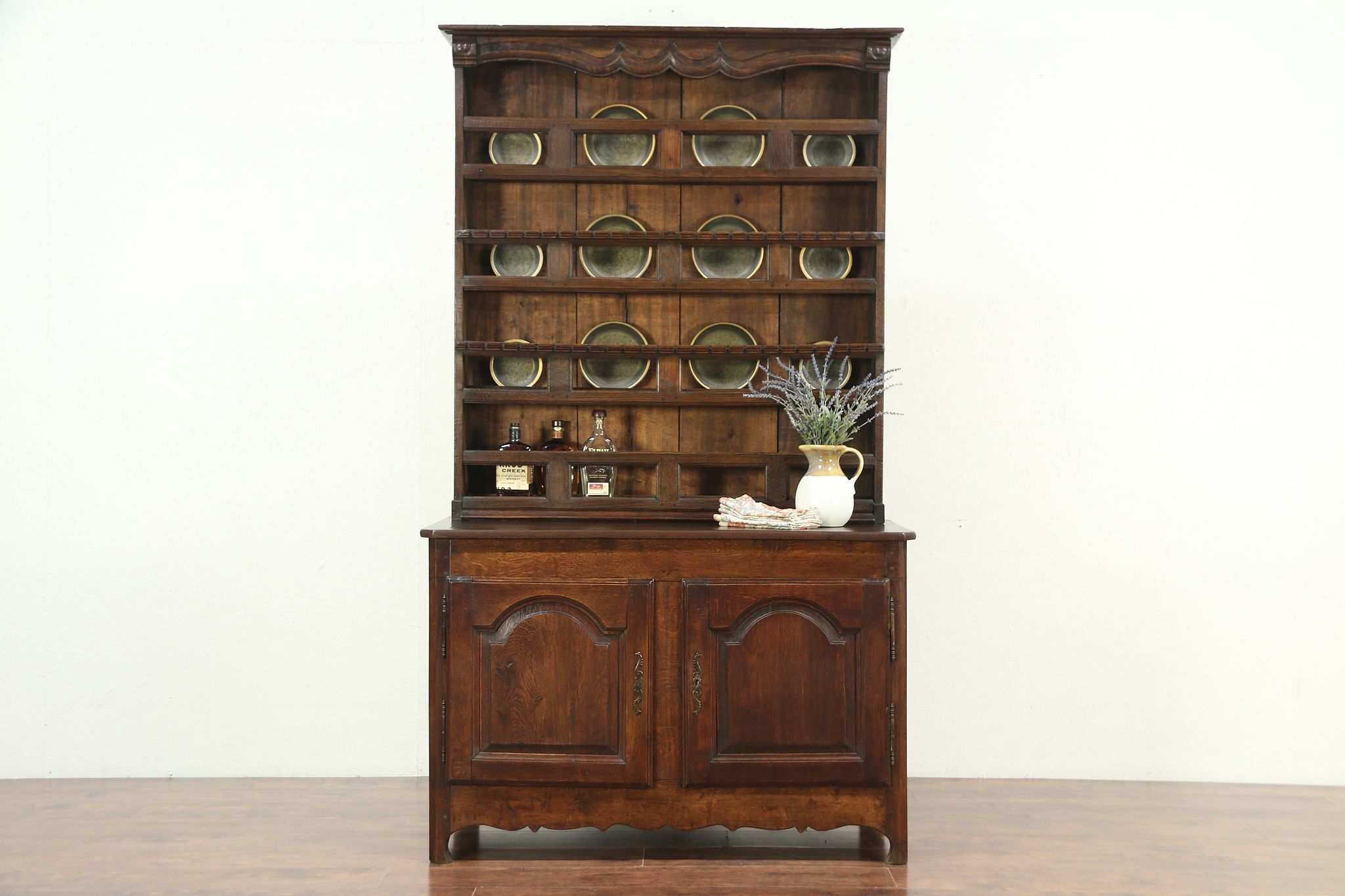 Country French Antique Oak Pewter Cupboard Sideboard Or Welsh Dresser 29167