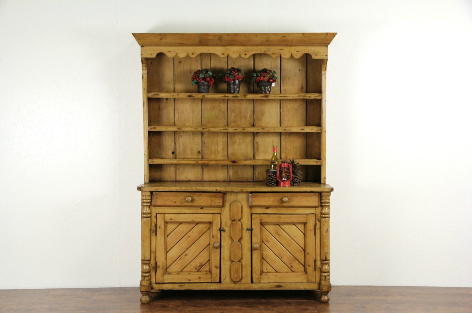 SOLD Country Pine 1860 s Irish Hutch or Pewter Cupboard