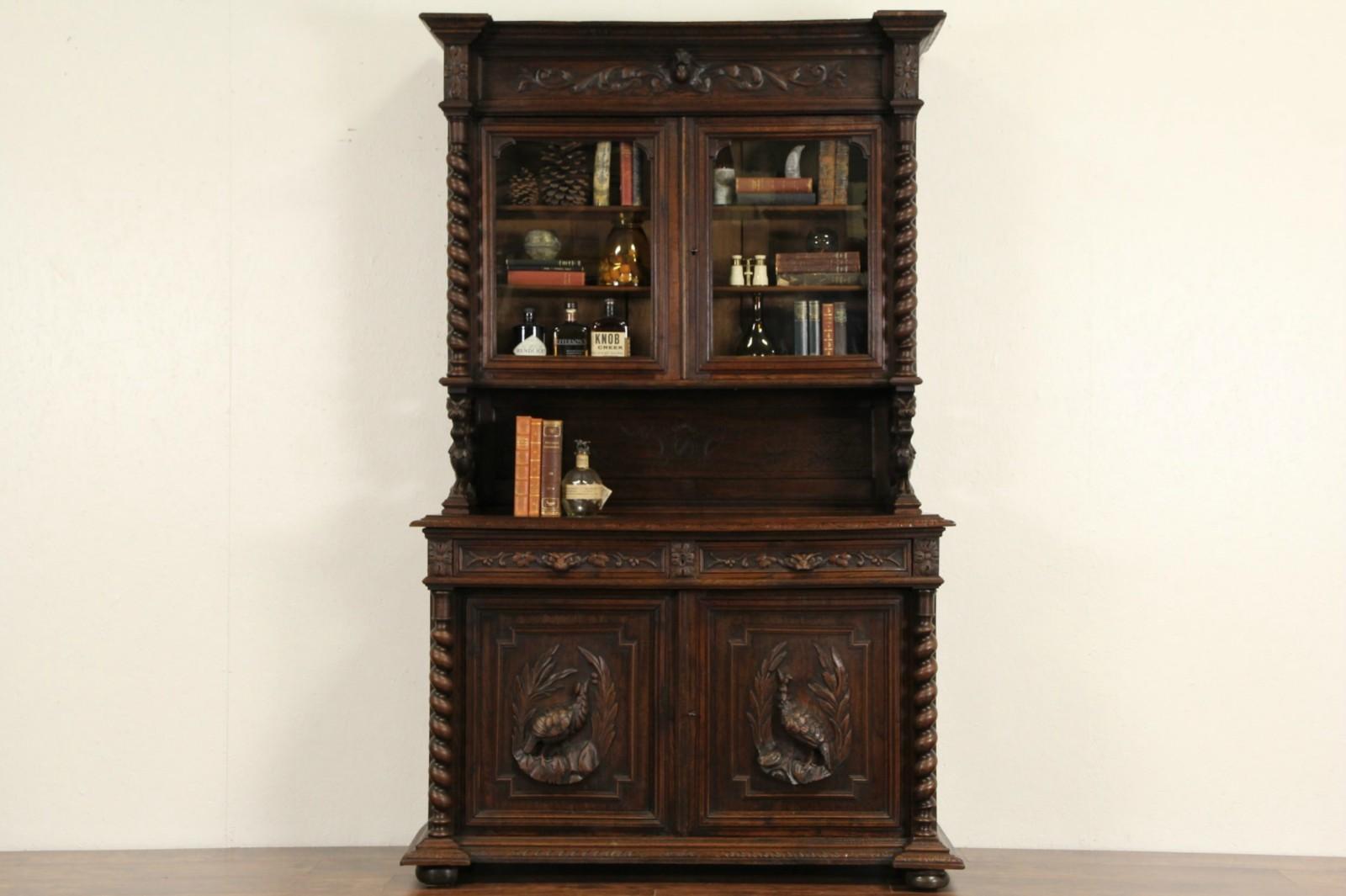 Black Forest 1880 Antique Carved Oak Sideboard China Cabinet Or Bookcase