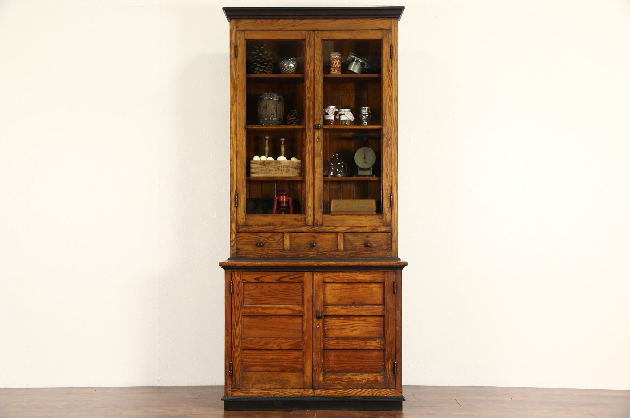 Country Pine 1890\'s Antique Pantry Cupboard Kitchen Cabinet, Wavy Glass  Doors