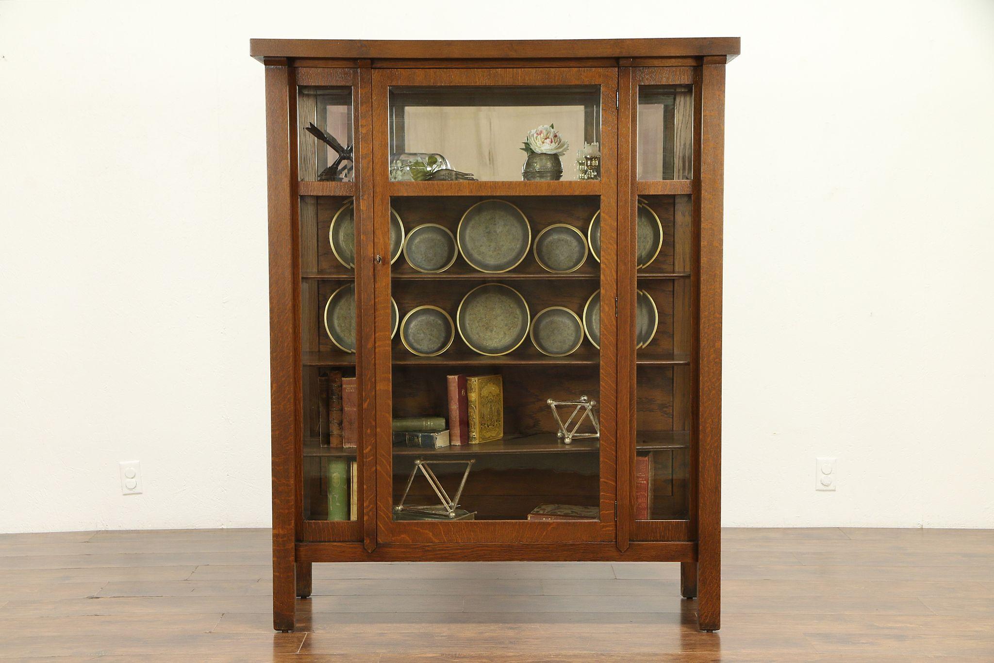 Arts Crafts Mission Oak Antique China Cabinet Or Craftsman Bookcase 32481